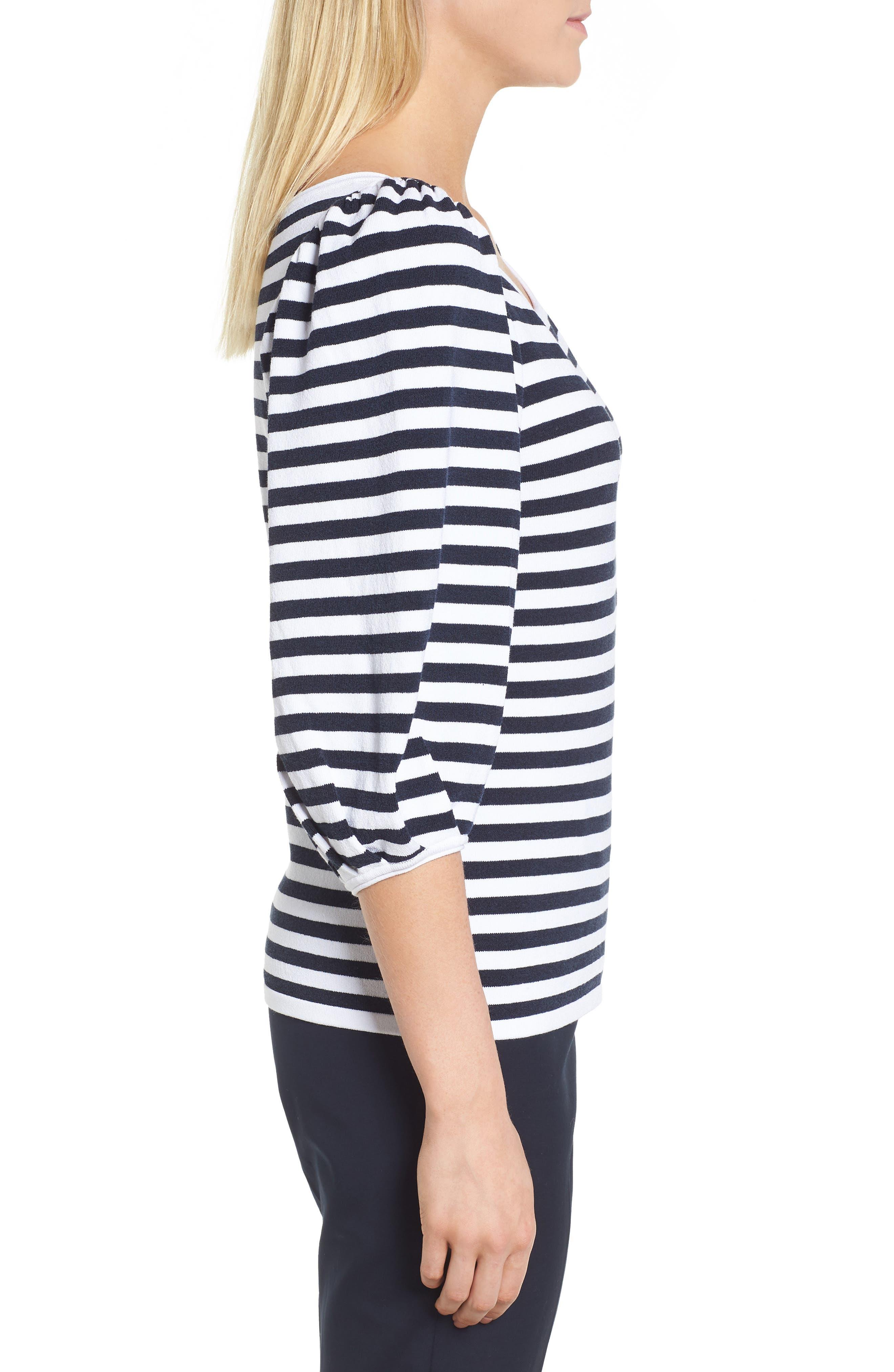 Blouson Sleeve Stripe Sweater,                             Alternate thumbnail 3, color,                             401