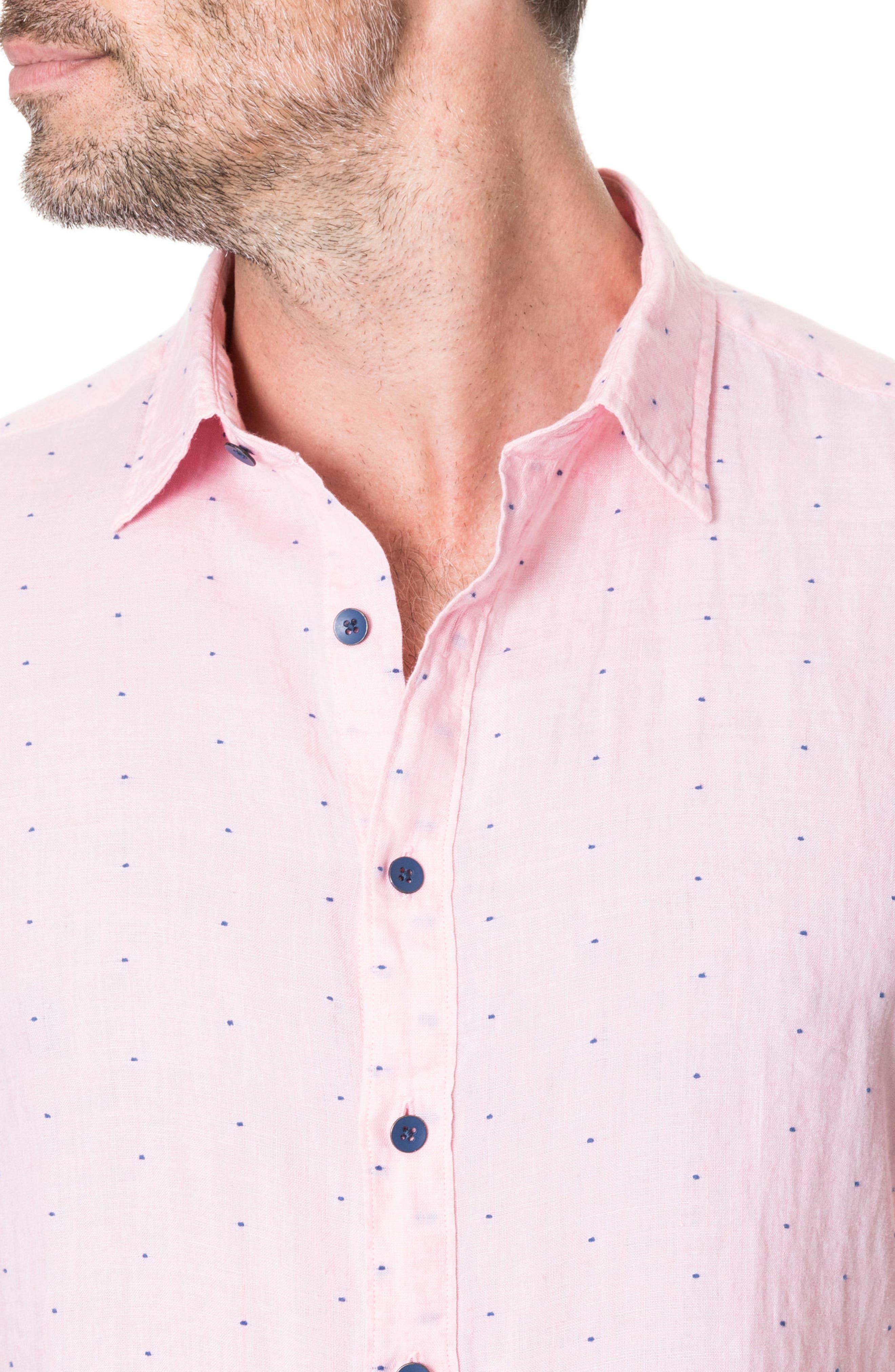 Landmark Slim Fit Dot Linen Sport Shirt,                             Alternate thumbnail 3, color,                             689