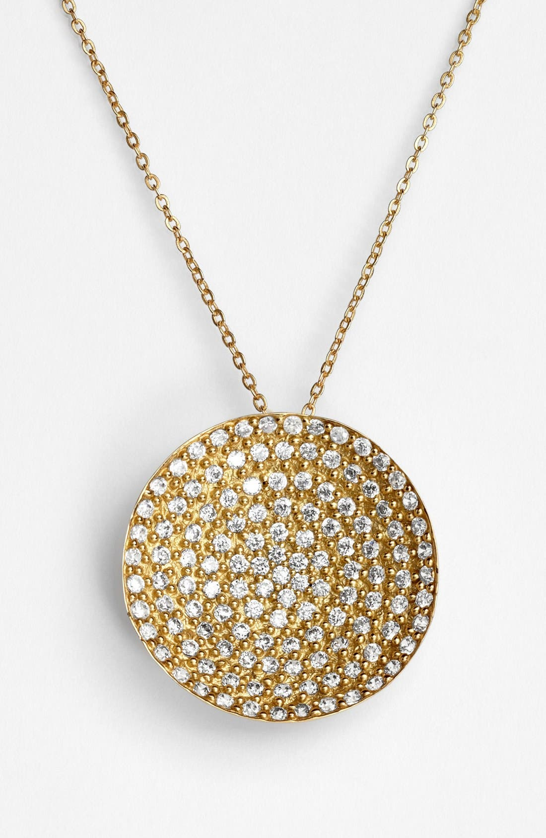 MELINDA MARIA 'Nicole' Pendant Necklace in Gold/ Clear
