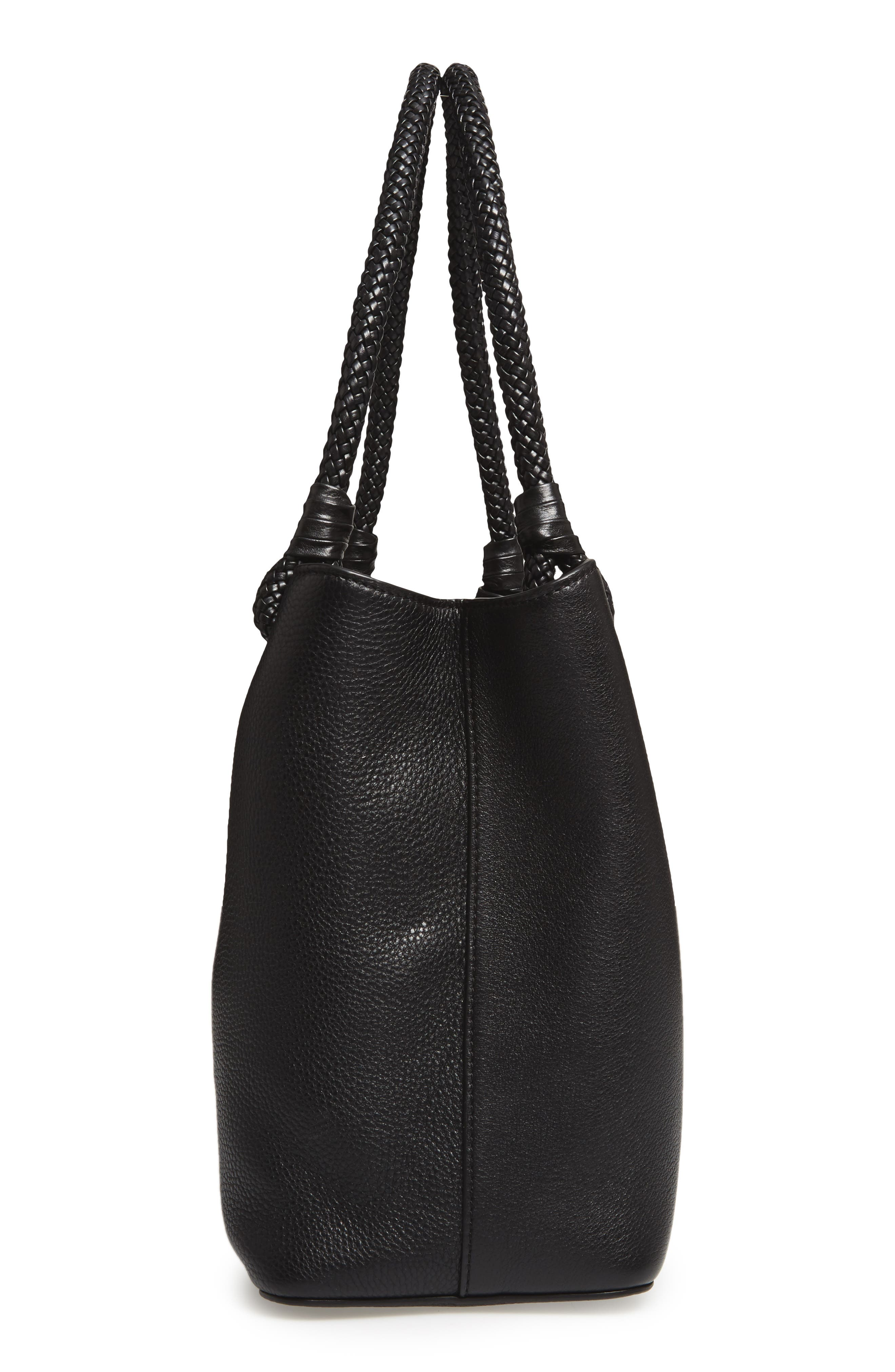 Taylor Triple-Compartment Leather Tote,                             Alternate thumbnail 5, color,                             001