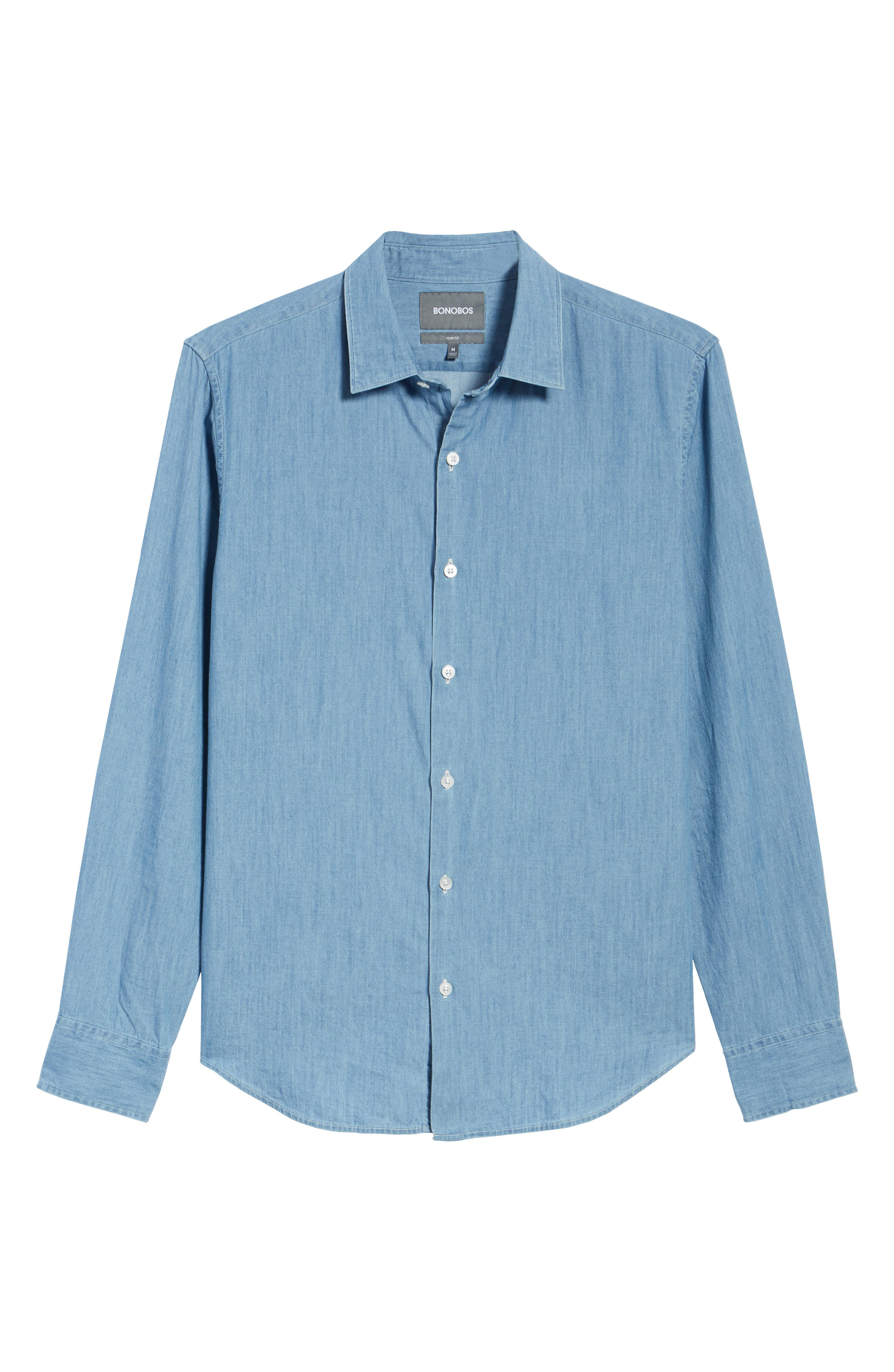 Unbutton Down 2.0 Slim Fit Chambray Sport Shirt,                             Alternate thumbnail 6, color,                             SOLID CHAMBRAY