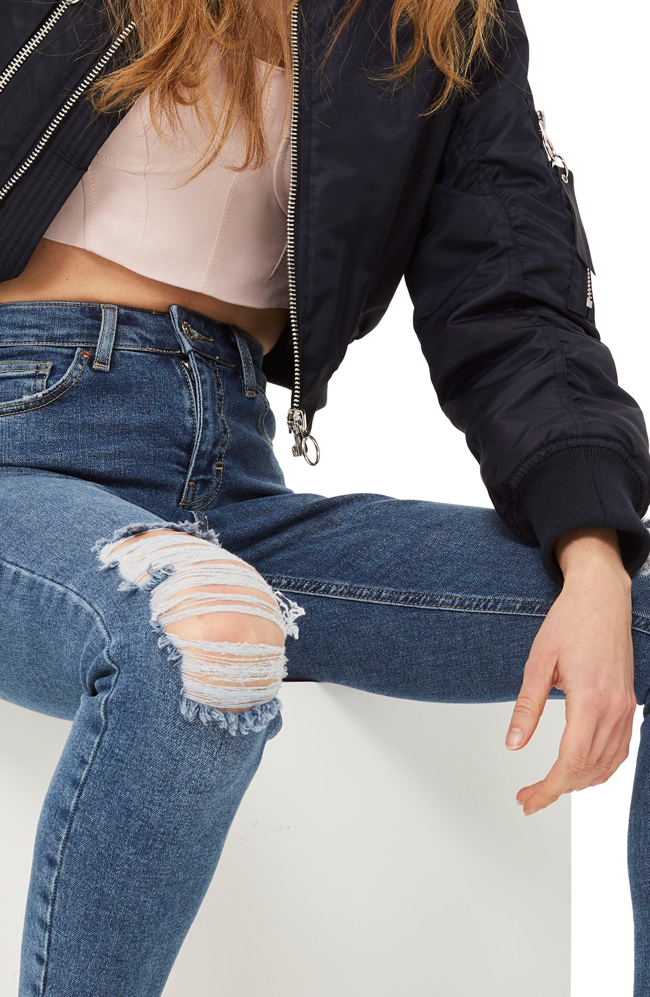 Jamie Petite Ripped Jeans,                         Main,                         color, MID DENIM