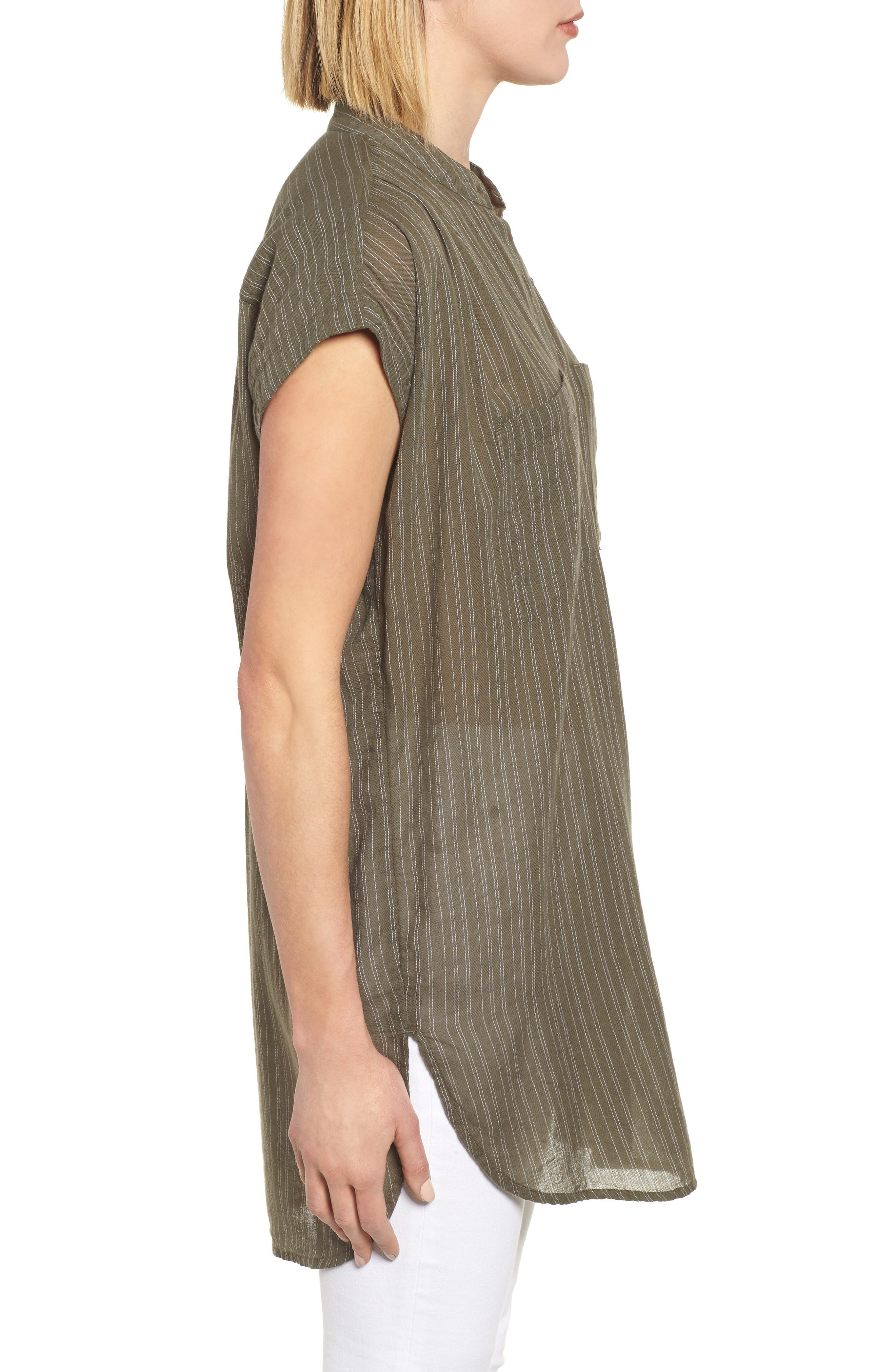 Button Front Longline Top,                             Alternate thumbnail 21, color,