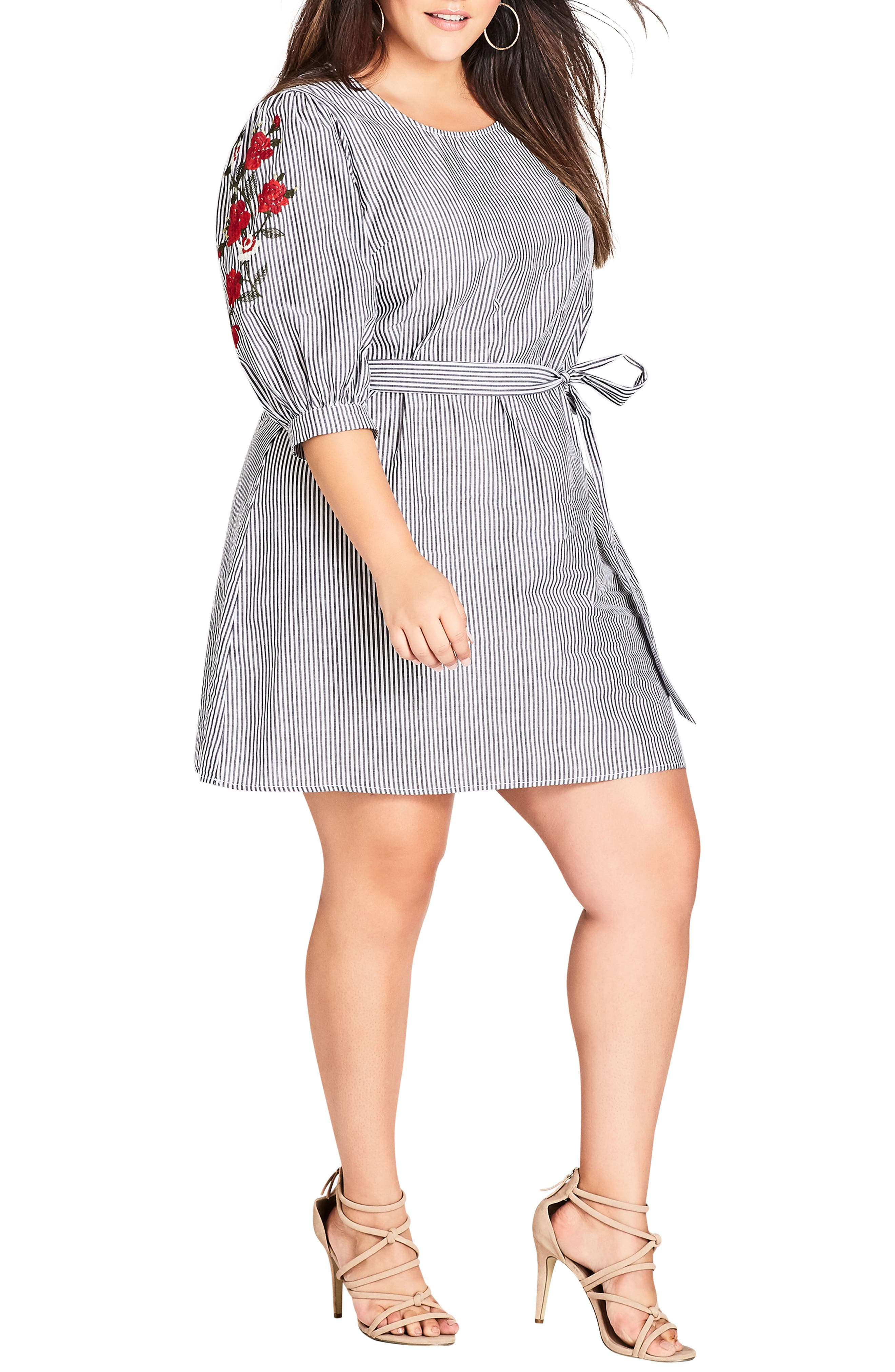 Plus Size City Chic Flower Embroidered Stripe Dress