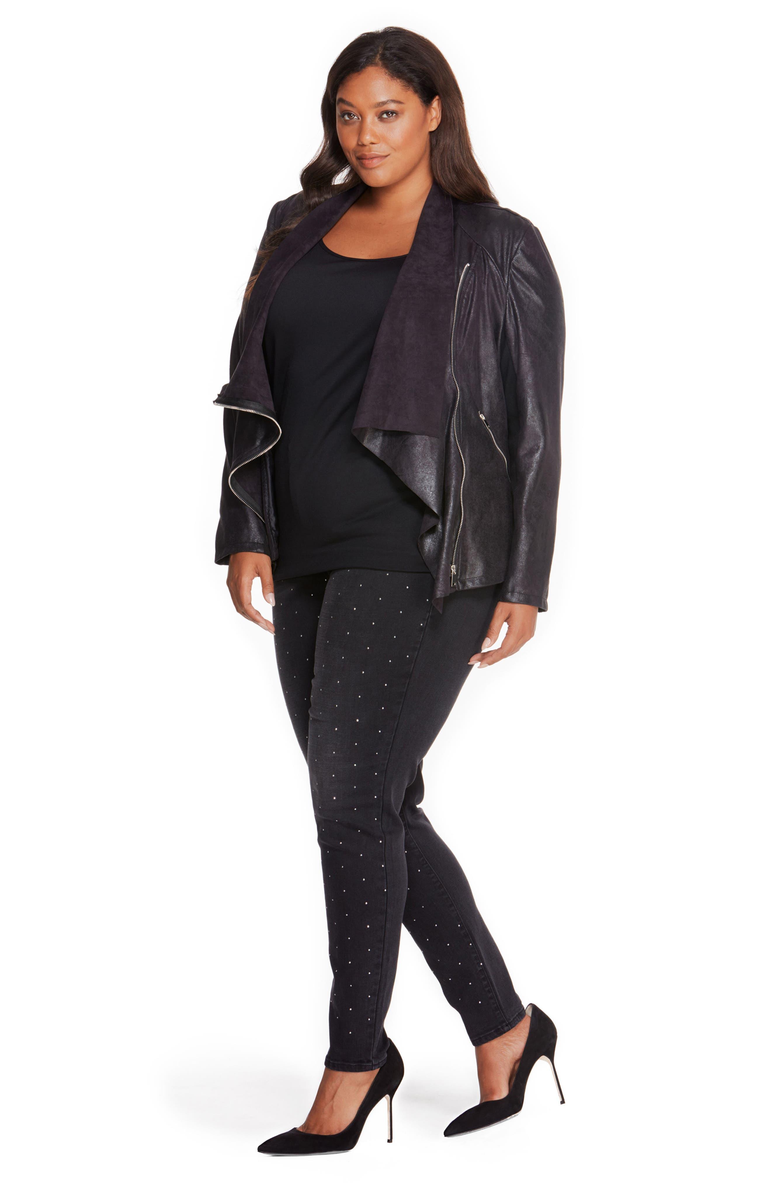 Asymmetrical Faux Leather Jacket,                             Alternate thumbnail 7, color,                             001