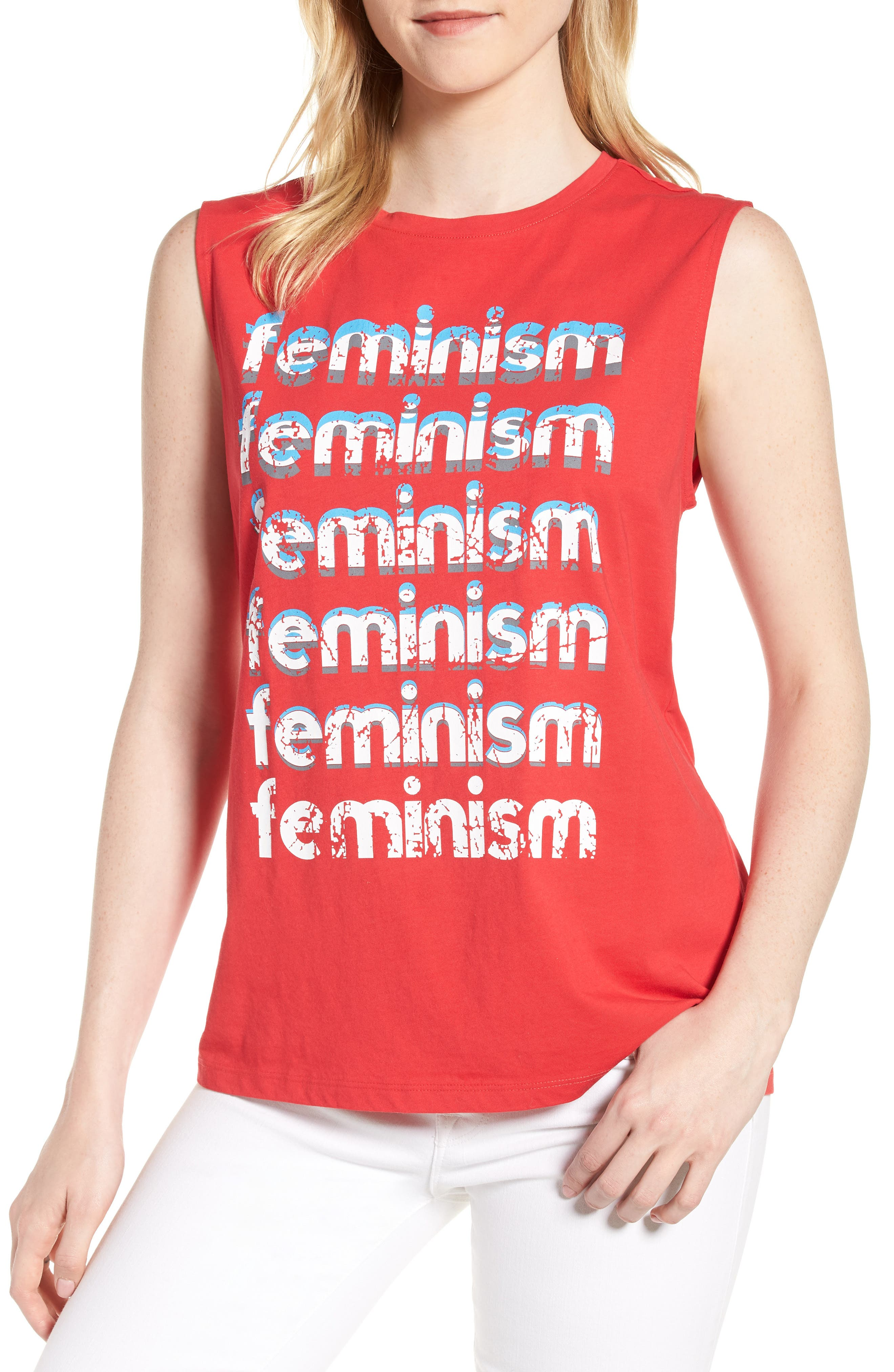 Feminism Muscle Tee,                             Main thumbnail 1, color,                             BRIGHT RED/ MULTI
