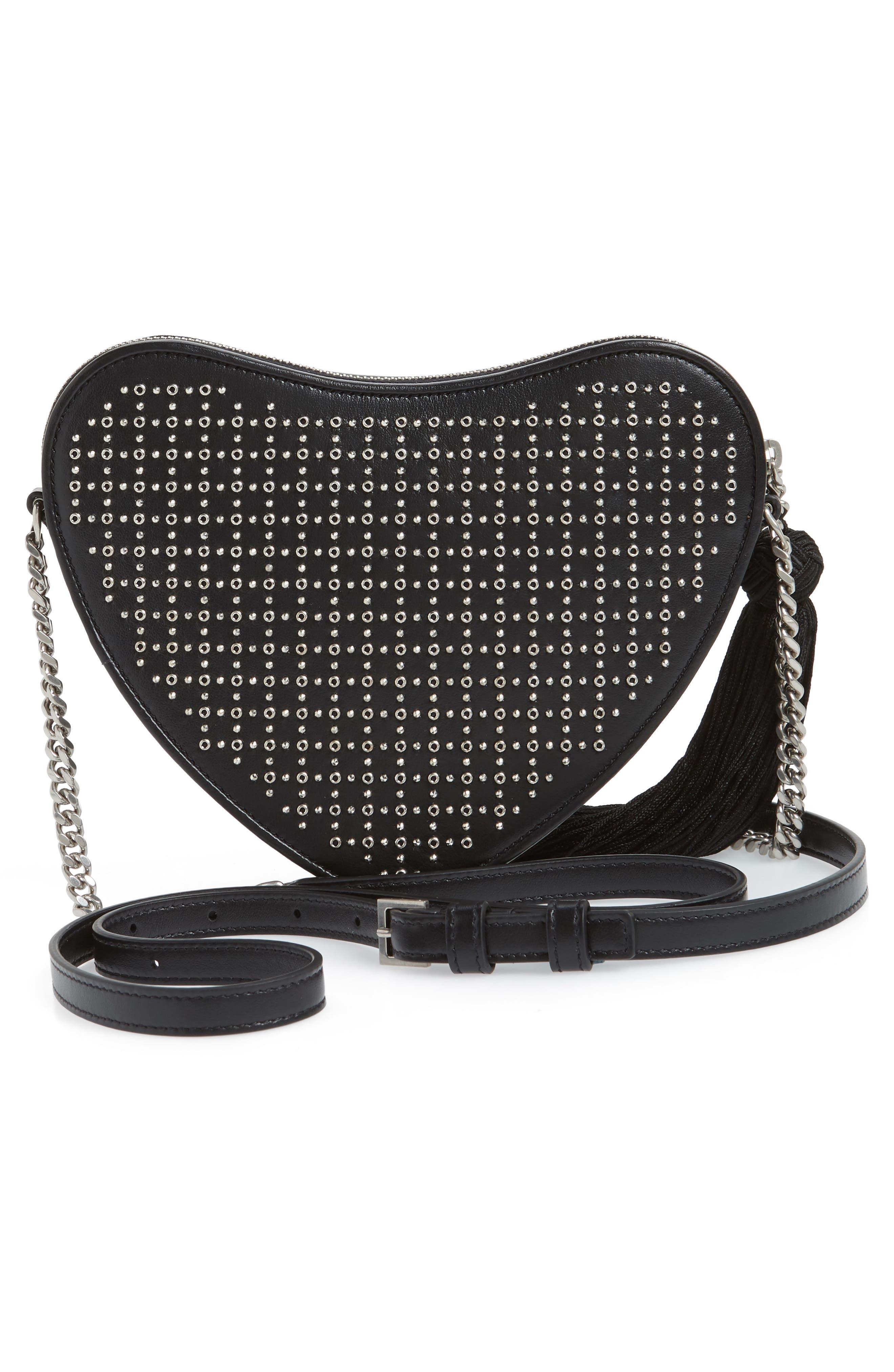 Sac Coeur Studded Leather Crossbody Bag,                             Alternate thumbnail 3, color,                             NOIR/ NOIR