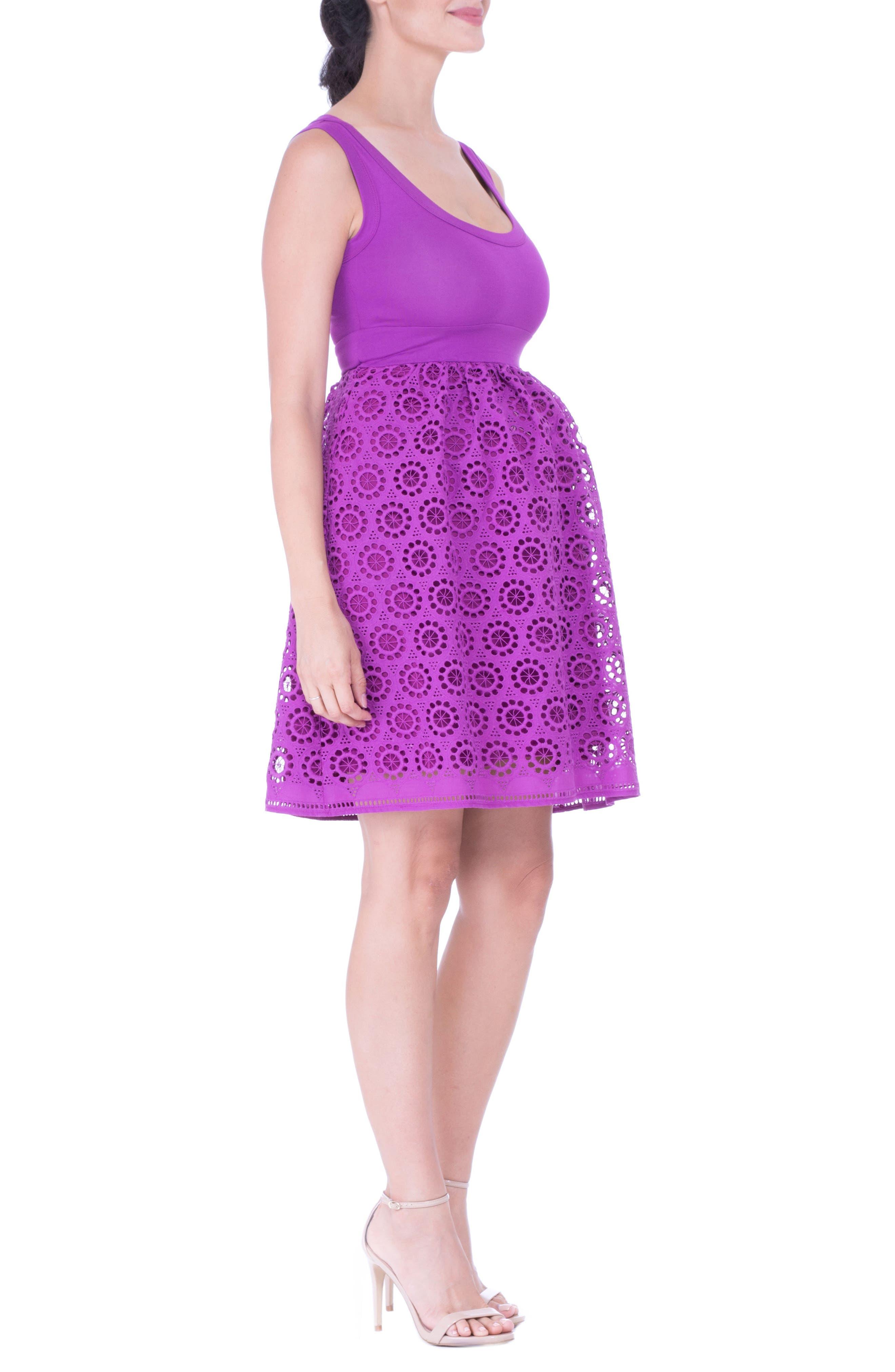 Crochet Maternity Dress,                             Alternate thumbnail 3, color,                             ORCHID