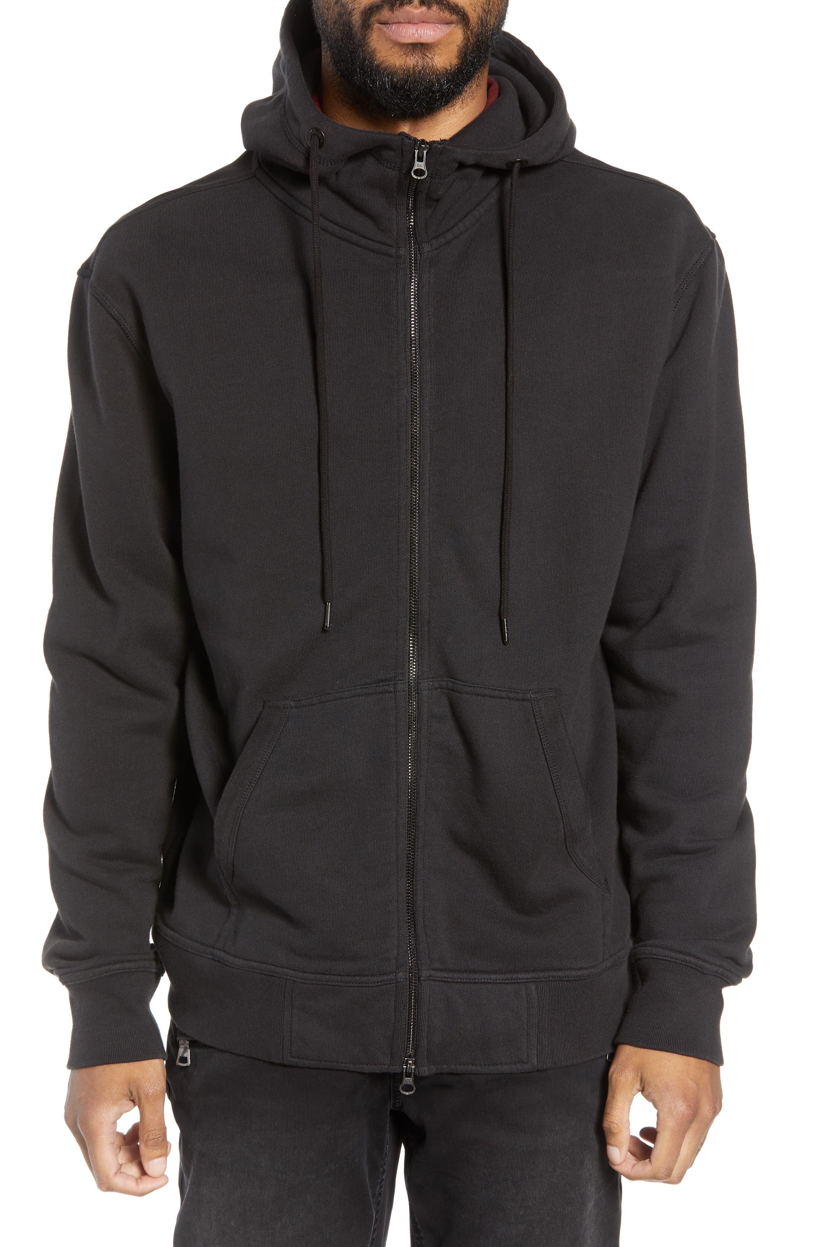 Regular Fit Hooded Zip Sweatshirt,                             Alternate thumbnail 4, color,                             001