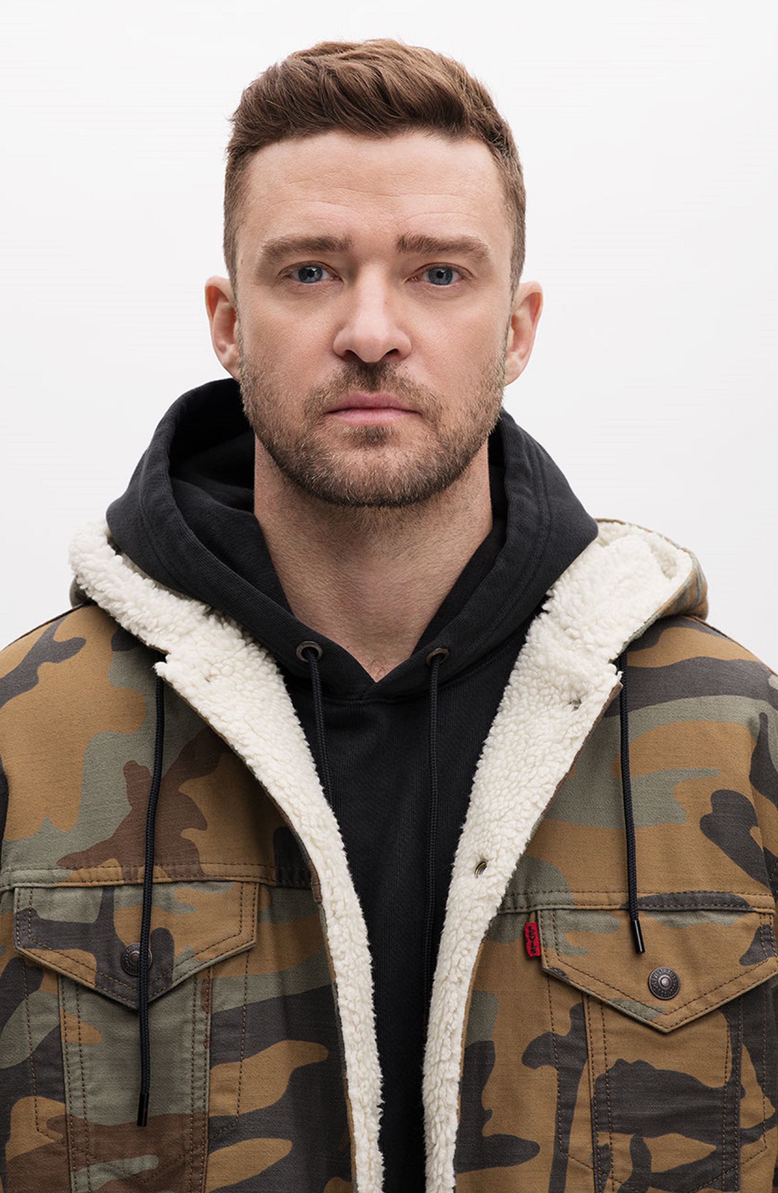 x Justin Timberlake Faux Shearling Hooded Trucker Jacket,                             Alternate thumbnail 10, color,                             CAMO