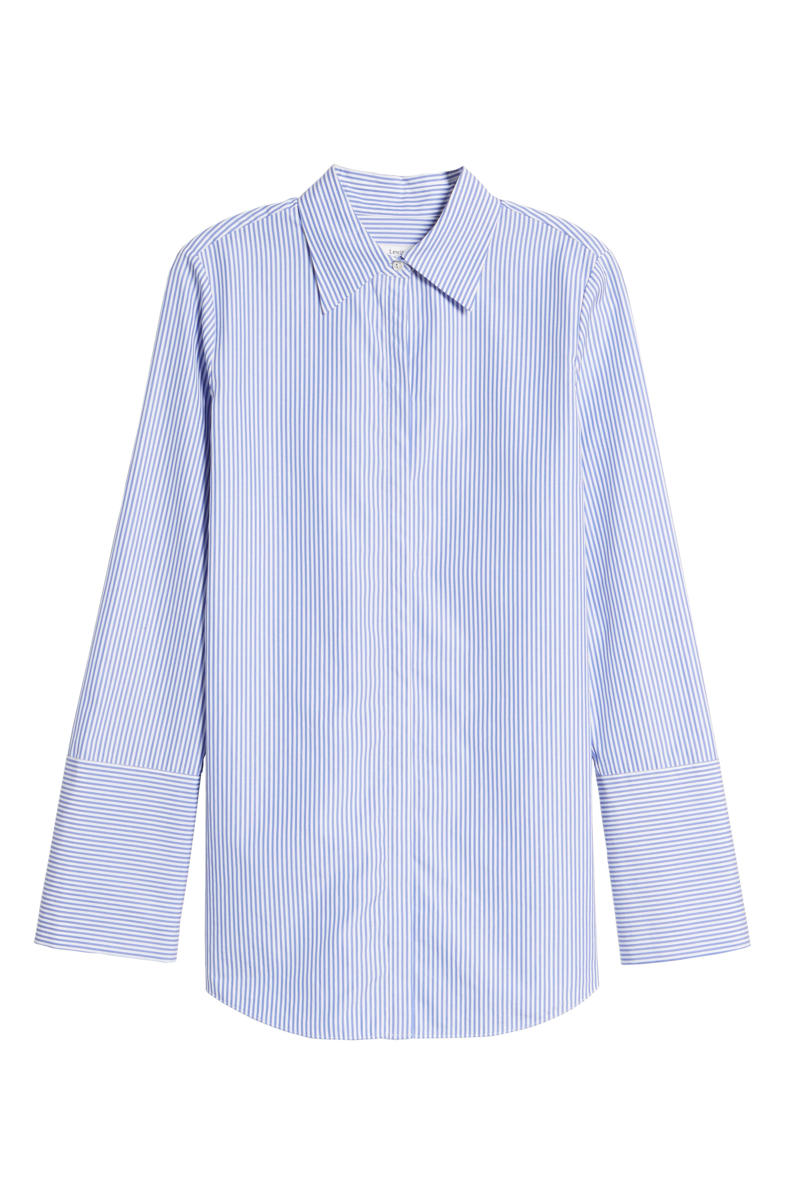 Exaggerated Cuff Stripe Shirt,                             Alternate thumbnail 6, color,                             450