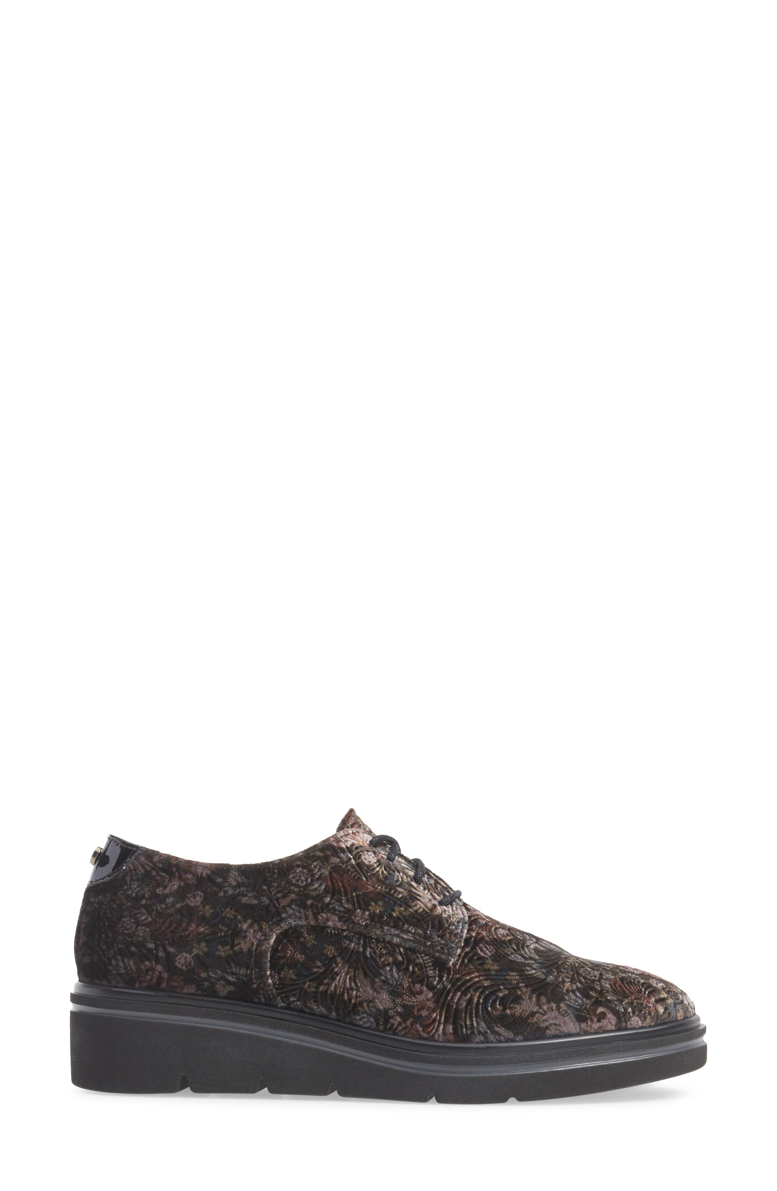 Richelle Oxford Sneaker,                             Alternate thumbnail 3, color,                             GREY FABRIC