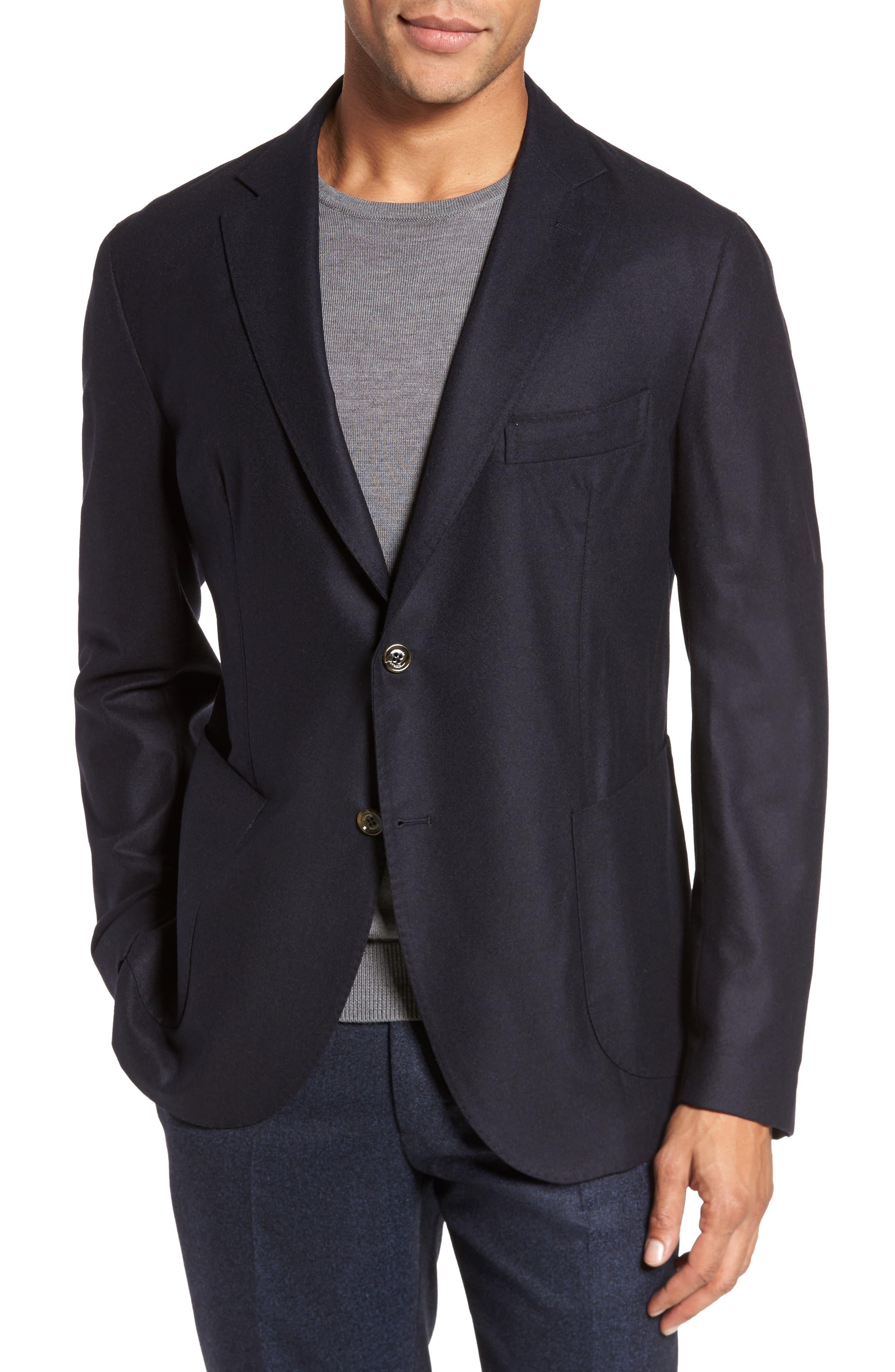 Trim Fit Wool Blend Blazer,                         Main,                         color, 002