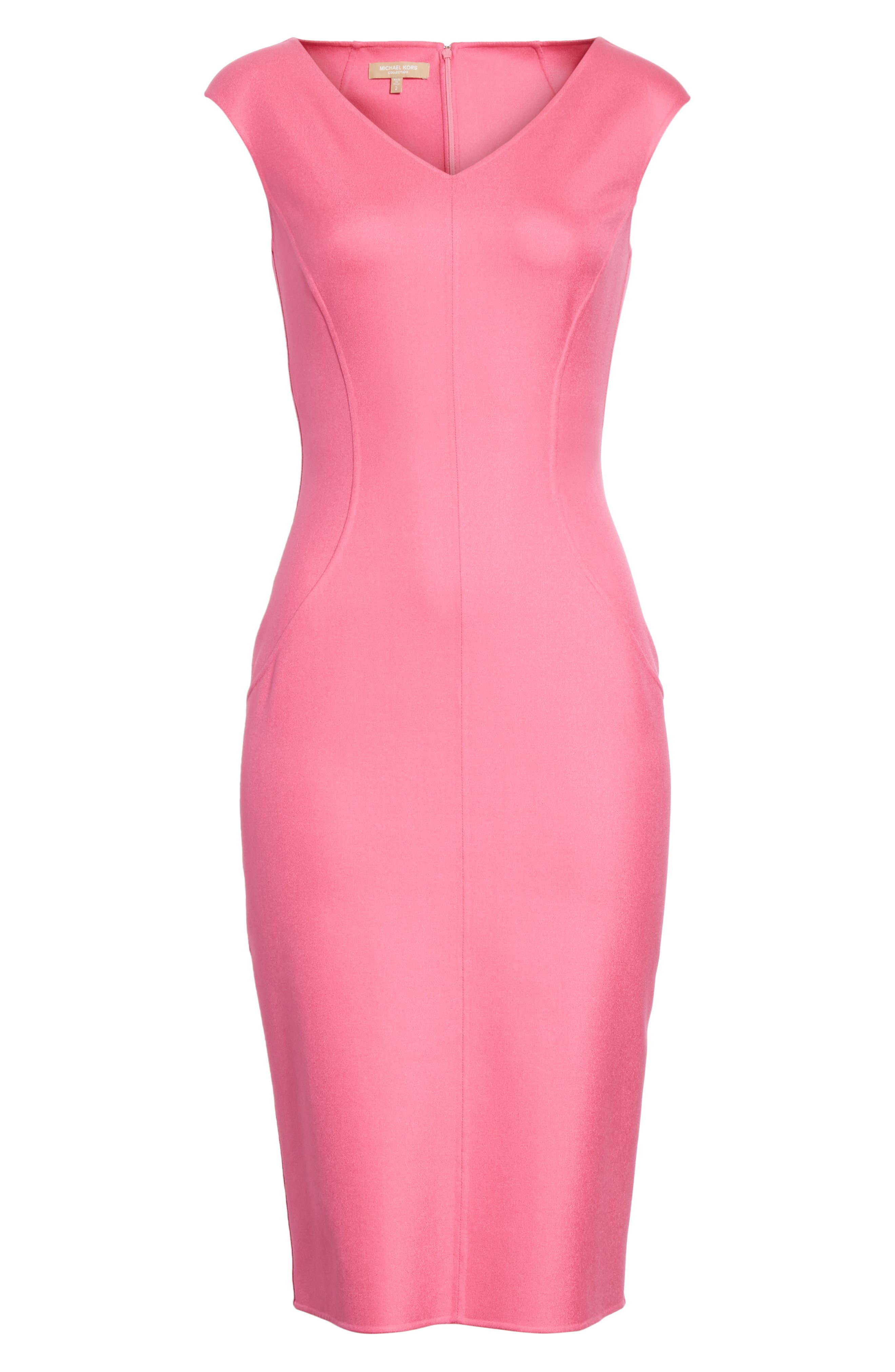 Silk Blend Sheath Dress,                             Alternate thumbnail 6, color,                             664
