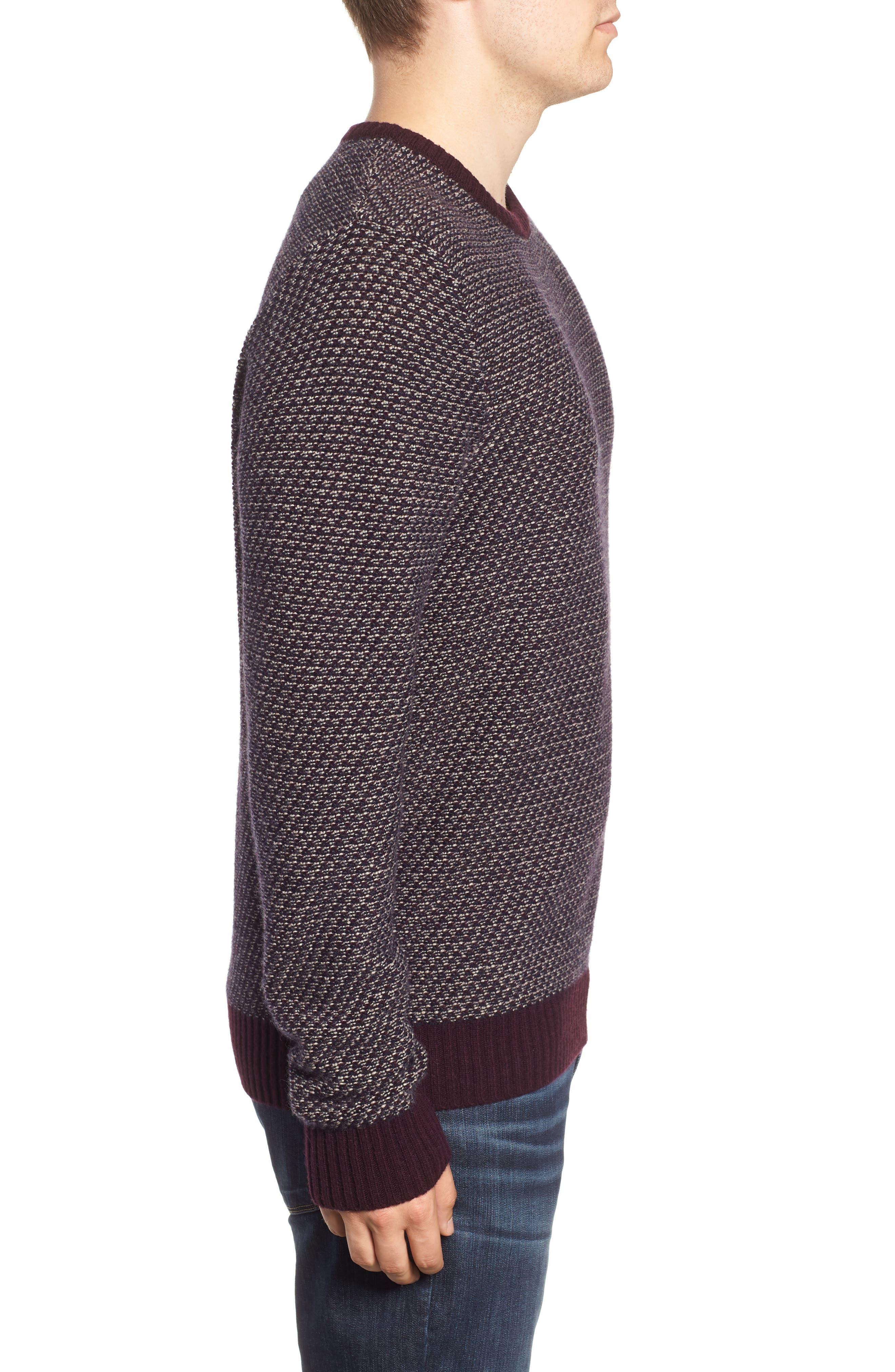 Jacquard Wool & Cashmere Sweater,                             Alternate thumbnail 3, color,                             938