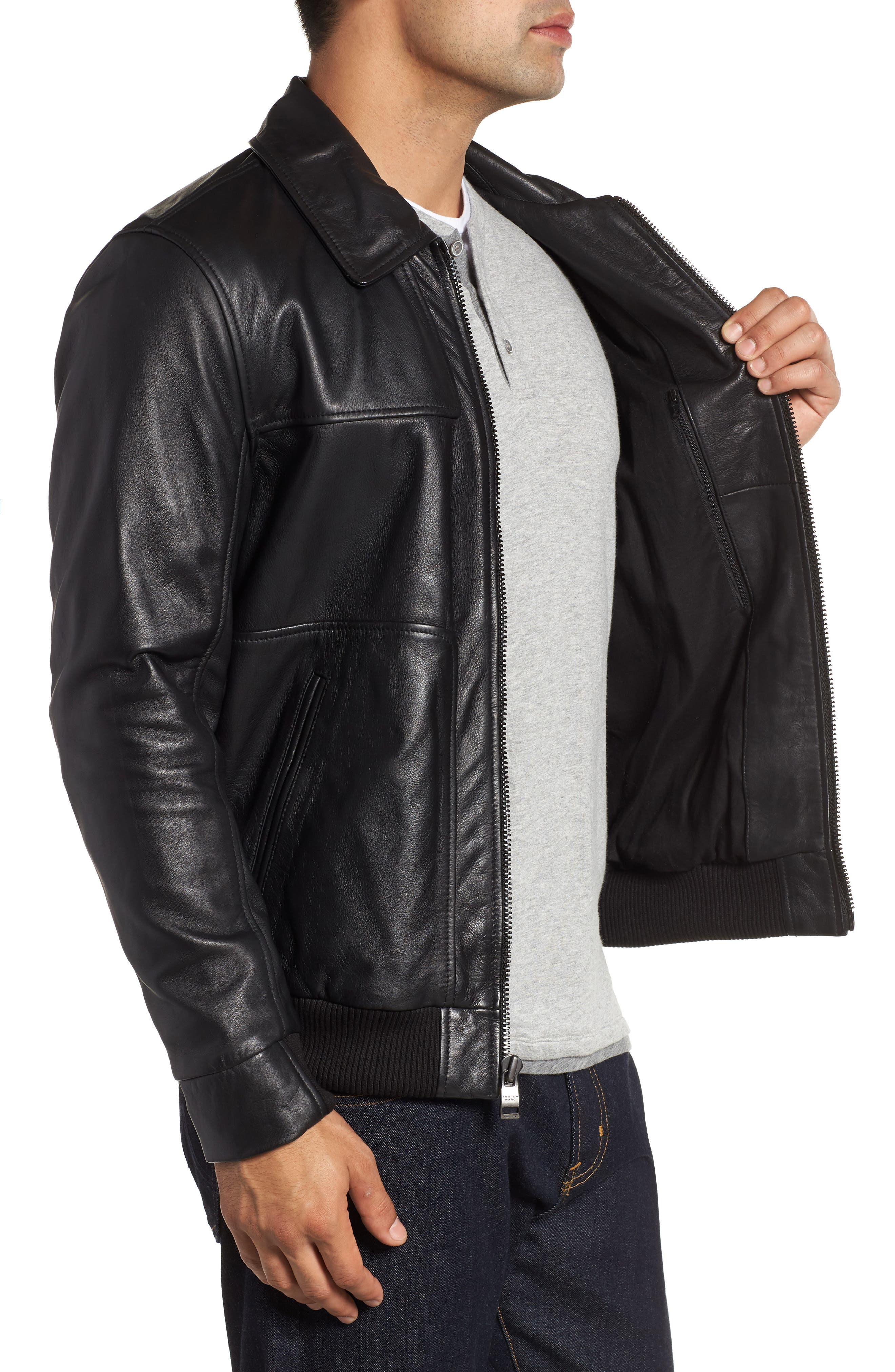 ANDREW MARC,                             Vaughn Shirt Collar Leather Bomber Jacket,                             Alternate thumbnail 3, color,                             BLACK