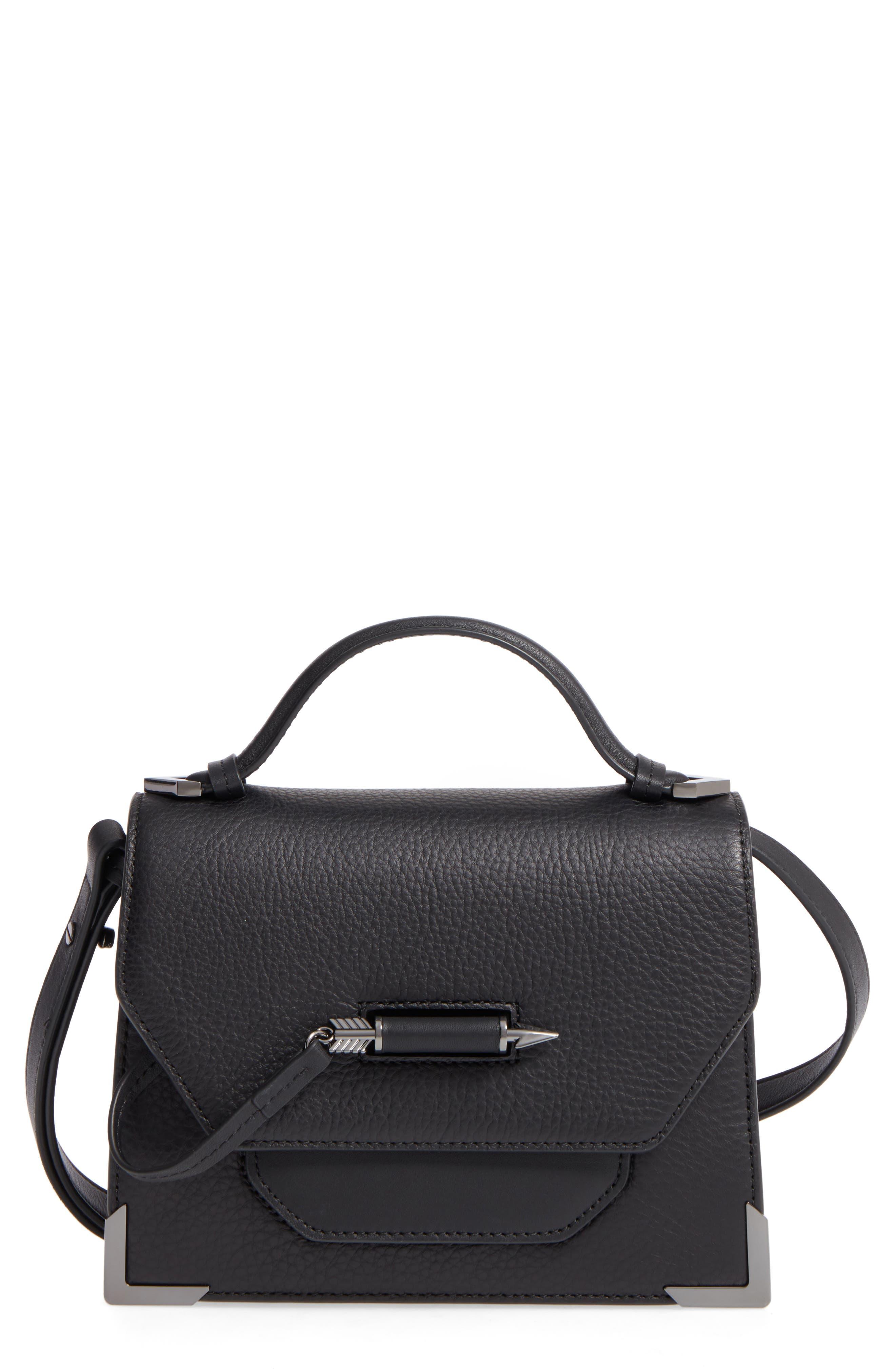 Keeley Leather Satchel,                         Main,                         color, BLACK