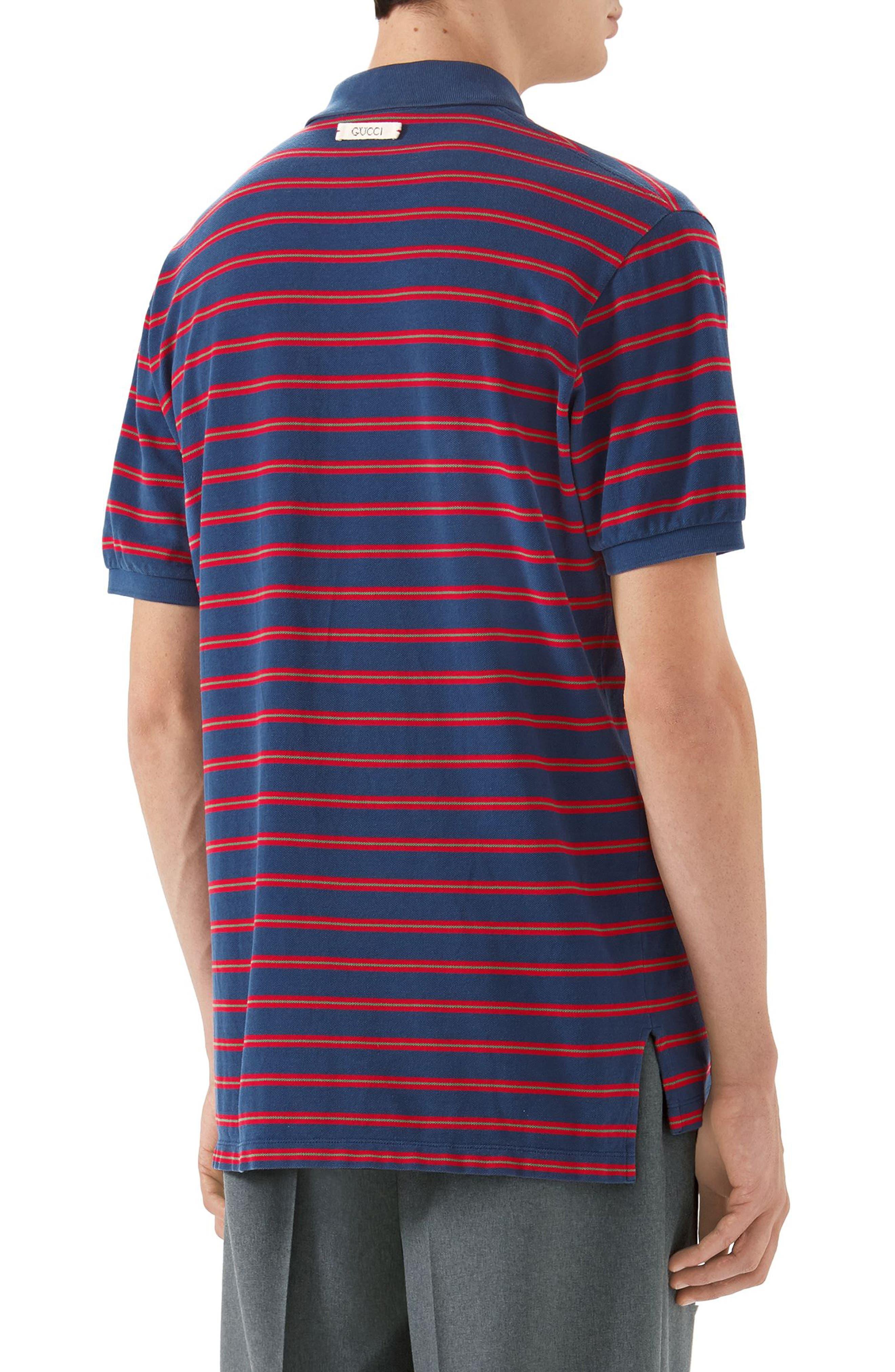 Oversized Stripe Polo,                             Alternate thumbnail 2, color,                             INCHIOSTRO/RED