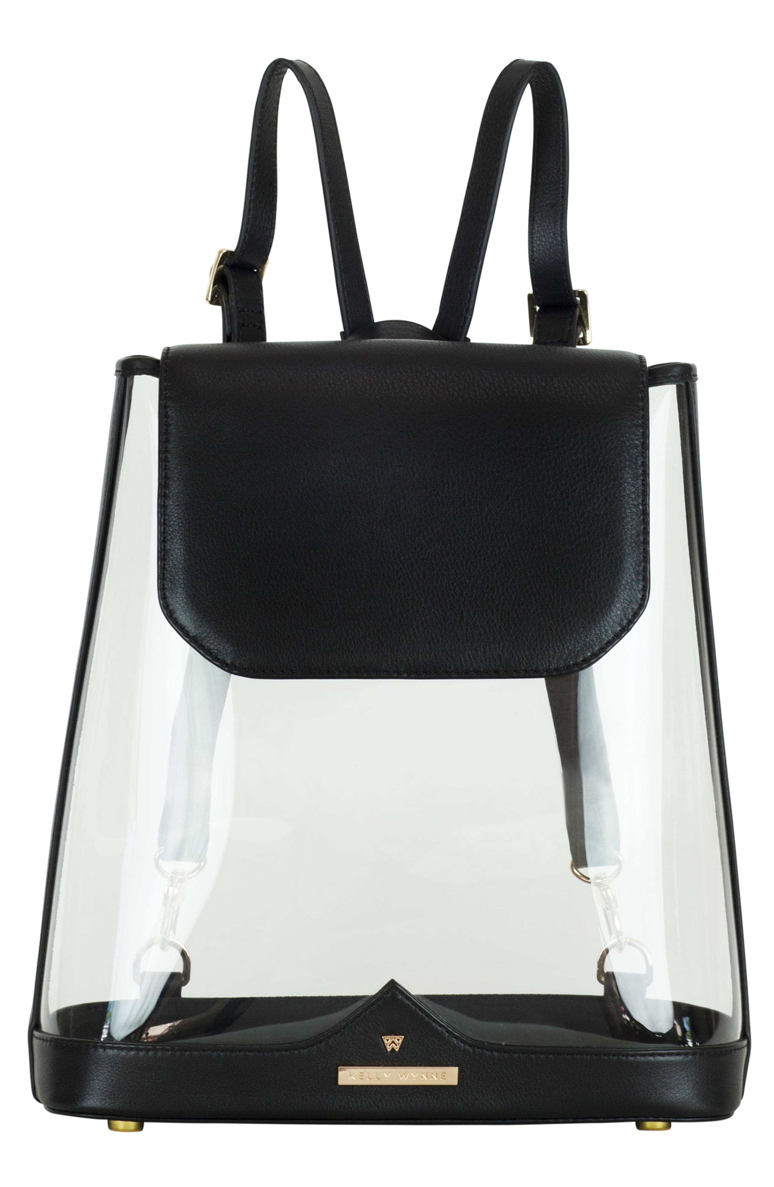 KELLY WYNNE Clear BYOBackpack, Main, color, BLACK