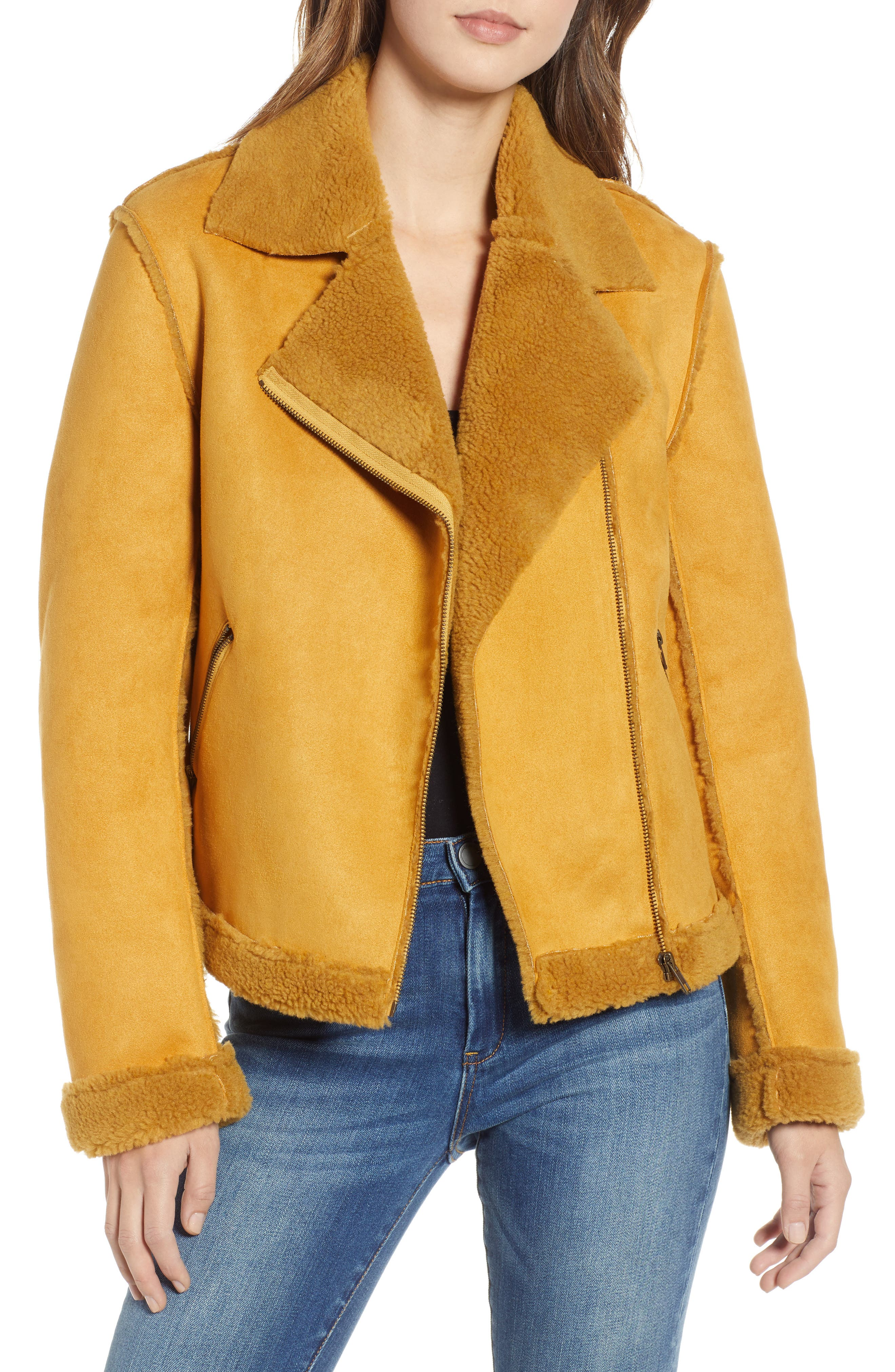 SOMEDAYS LOVIN Lovers Dance Faux Shearling Aviator Jacket in Golden Spice