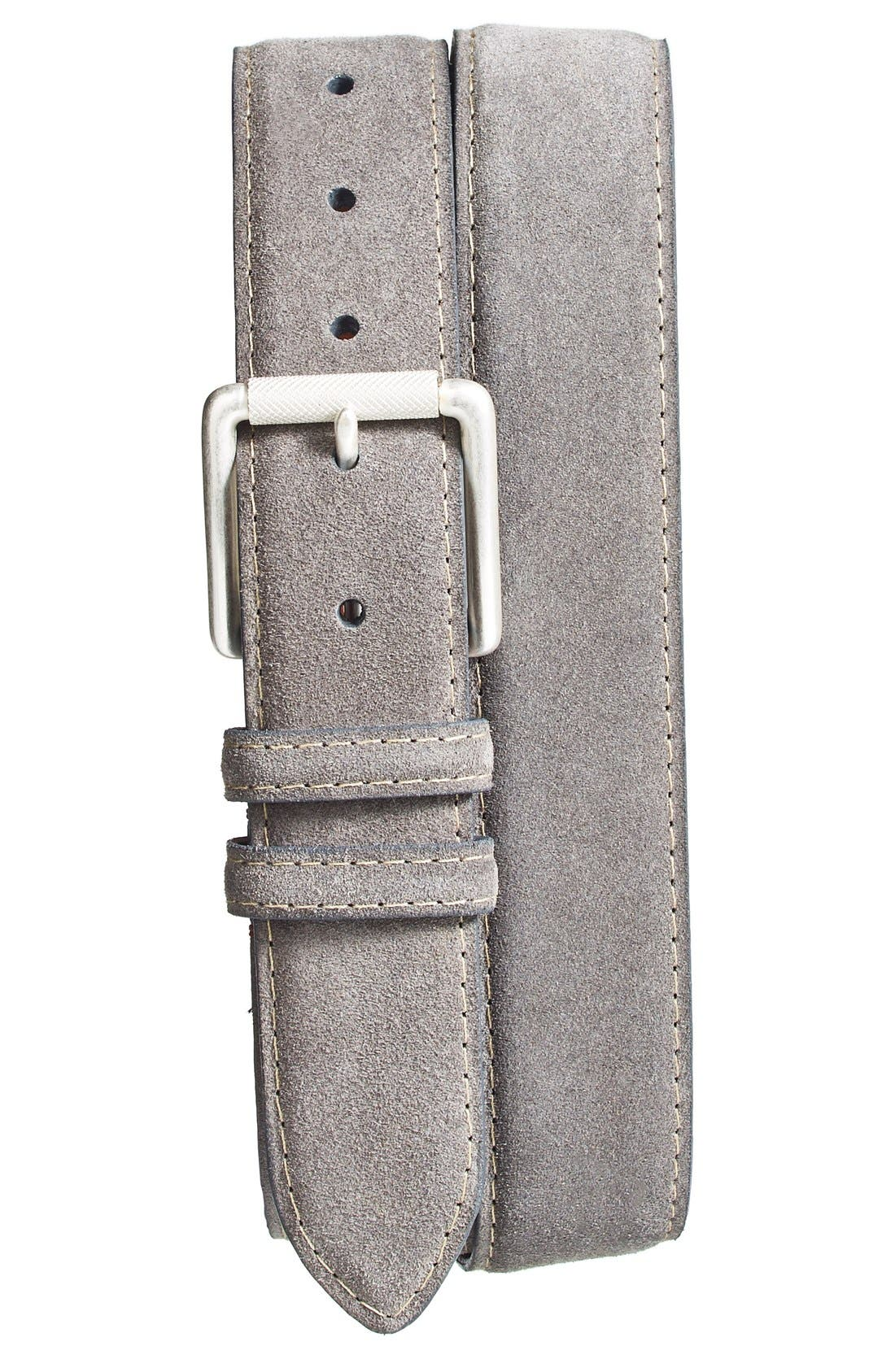Suede Belt,                             Main thumbnail 1, color,                             SLATE