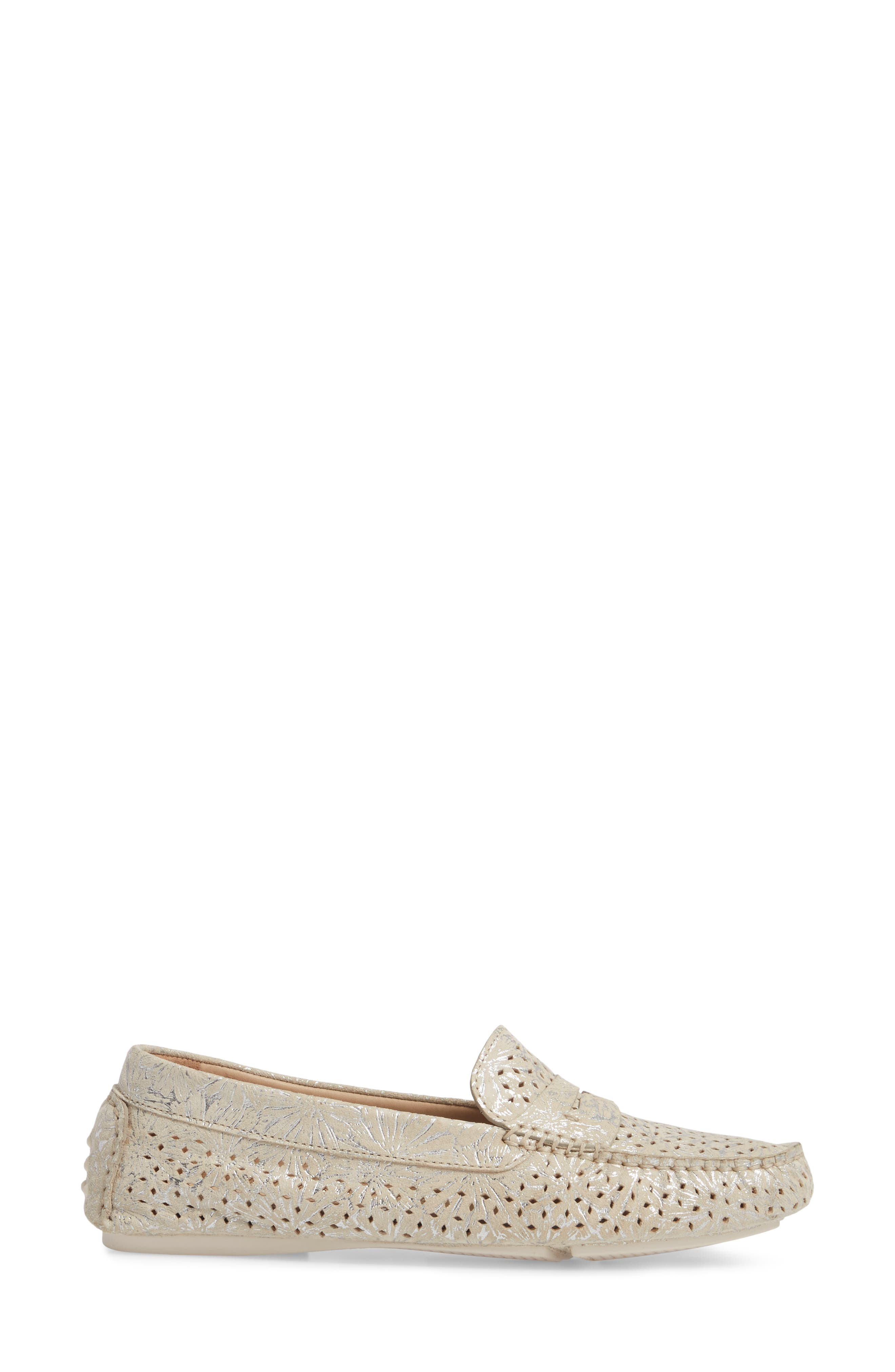 'Maggie' Penny Loafer,                             Alternate thumbnail 3, color,                             CREAM SUEDE