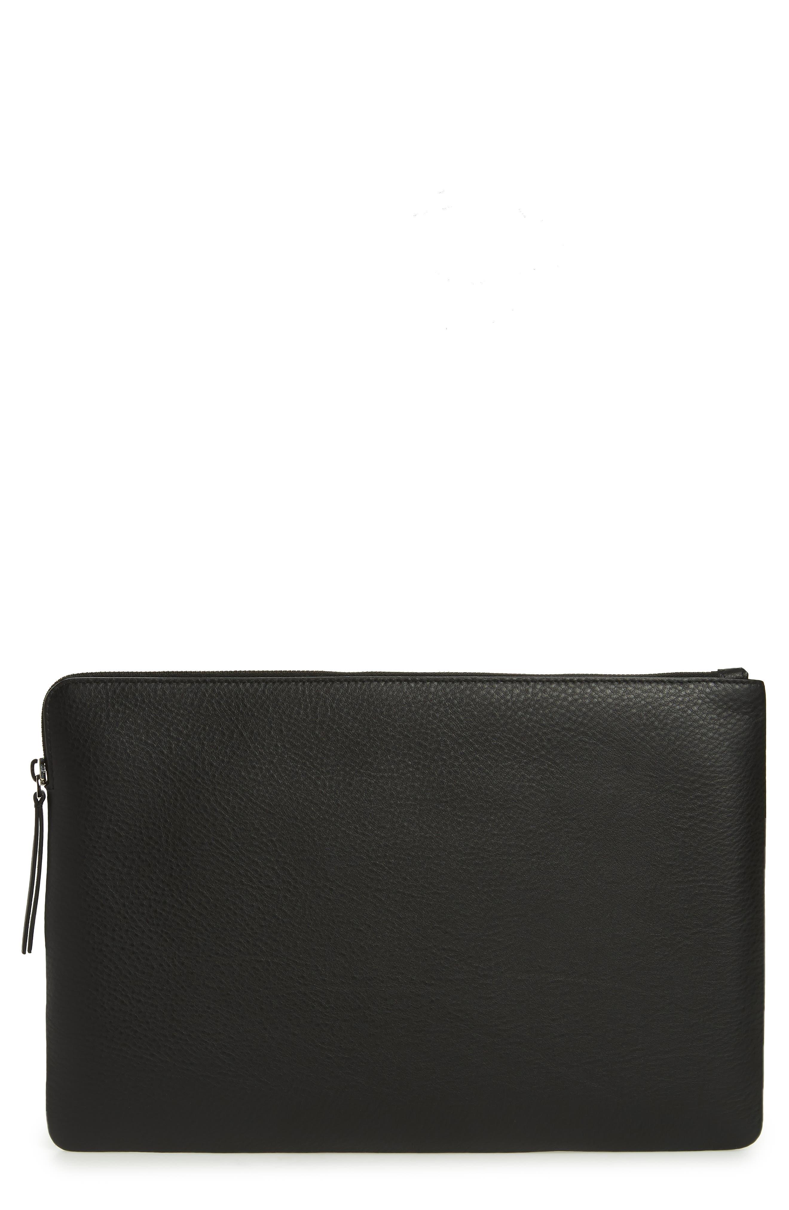 Balencia Large Everyday Leather Pouch,                             Main thumbnail 1, color,                             NOIR/ BLANC