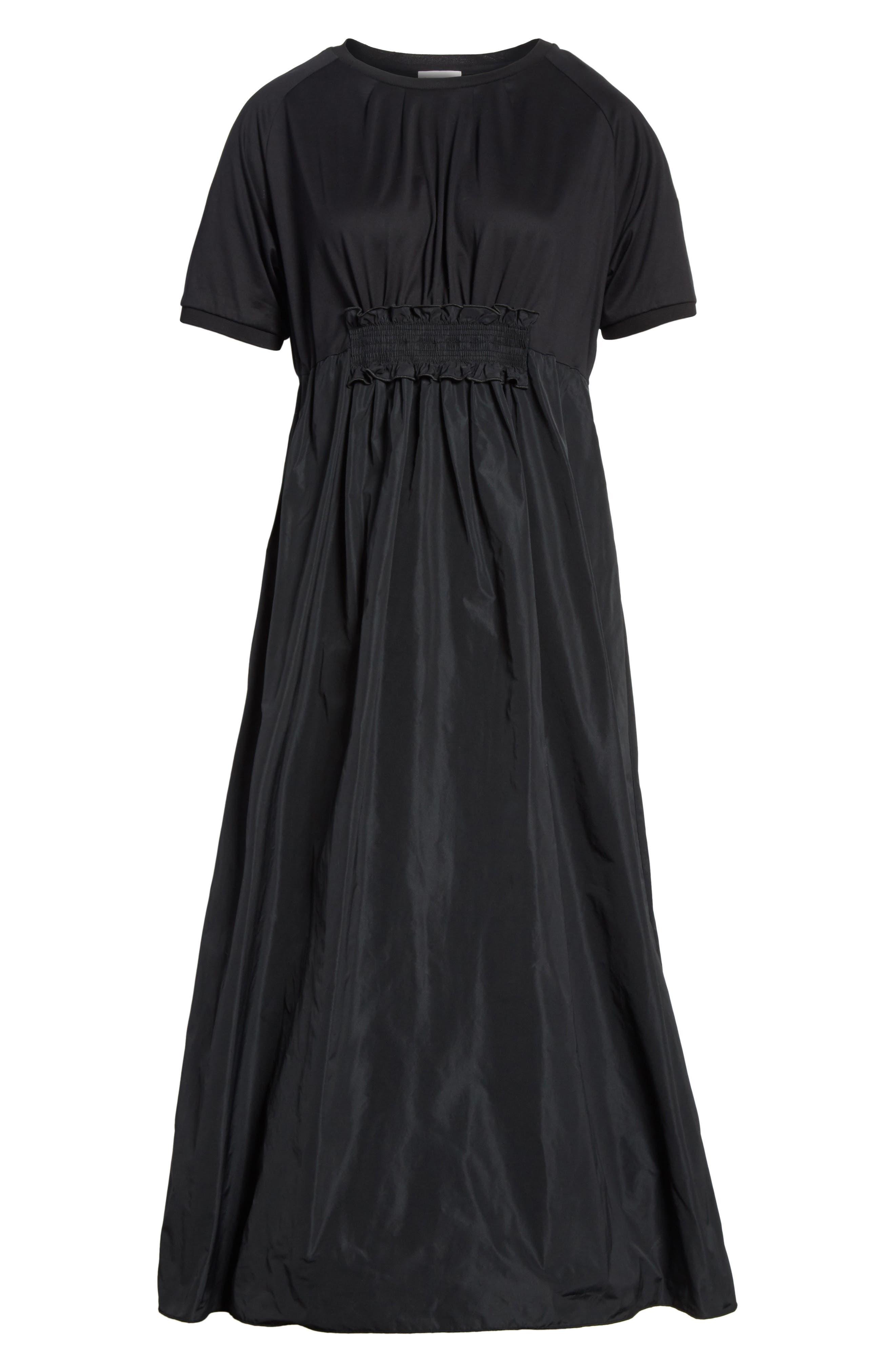 Abito Shirred Midi Dress,                             Alternate thumbnail 7, color,                             BLACK