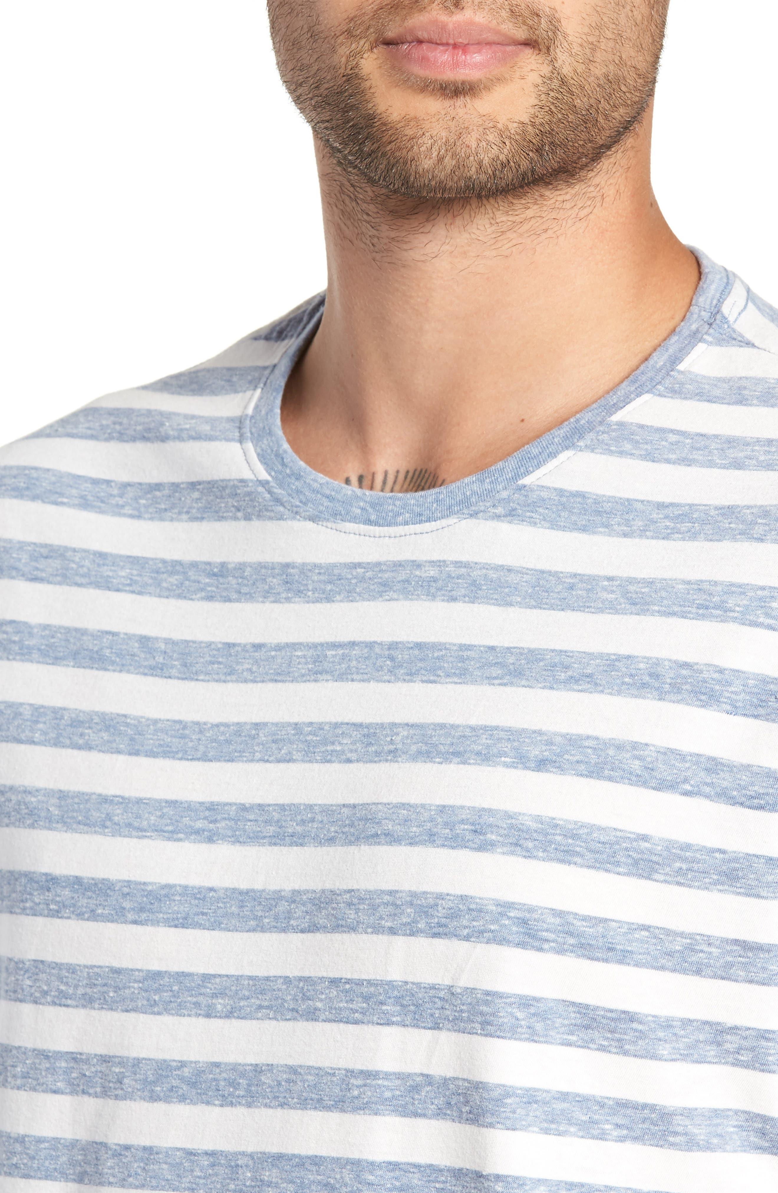 Stripe Crewneck T-Shirt,                             Alternate thumbnail 4, color,                             BLUE CHAMBRAY- WHITE STRIPE