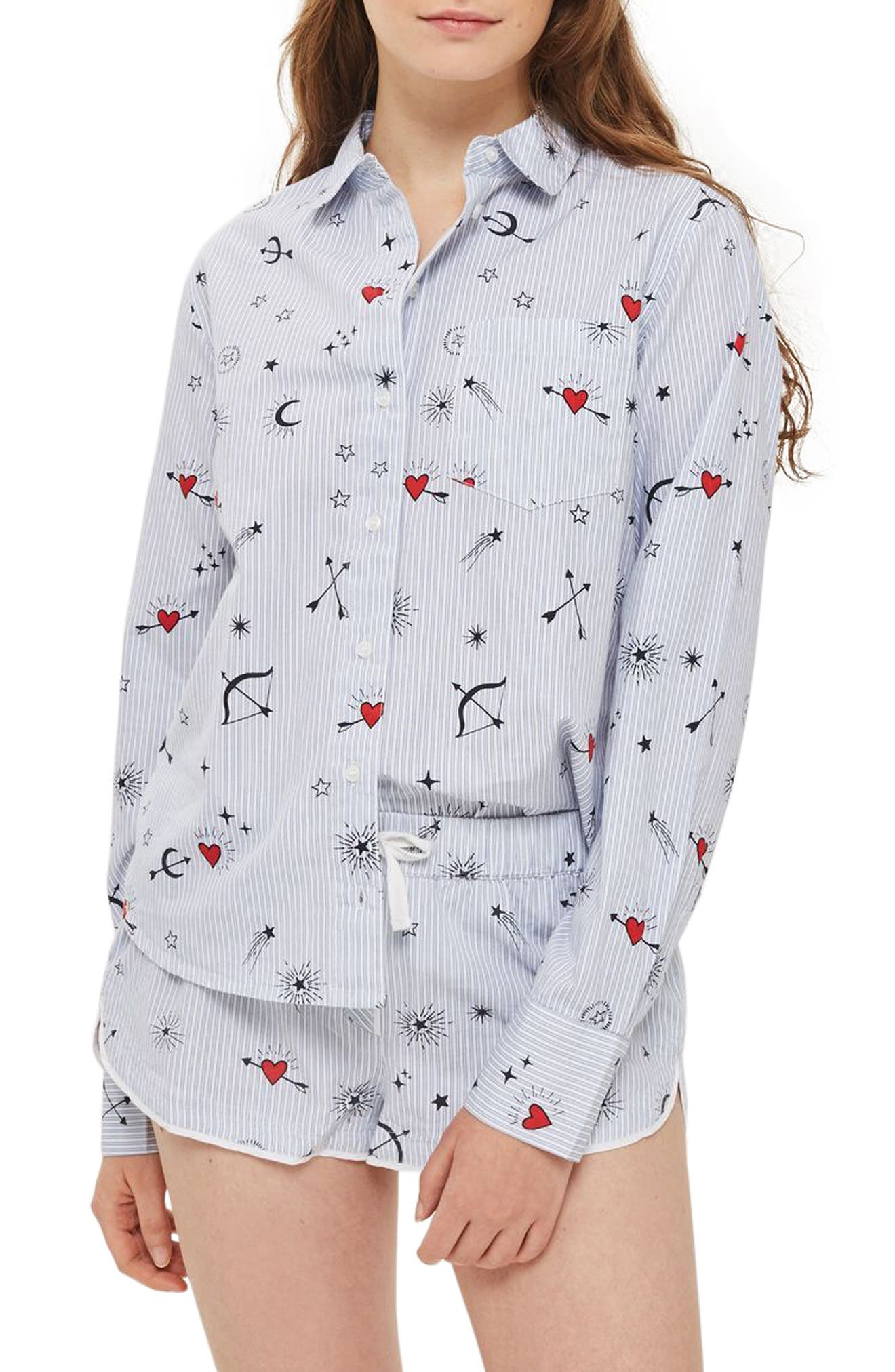 Heart Print Stripe Pajama Shirt,                             Main thumbnail 1, color,