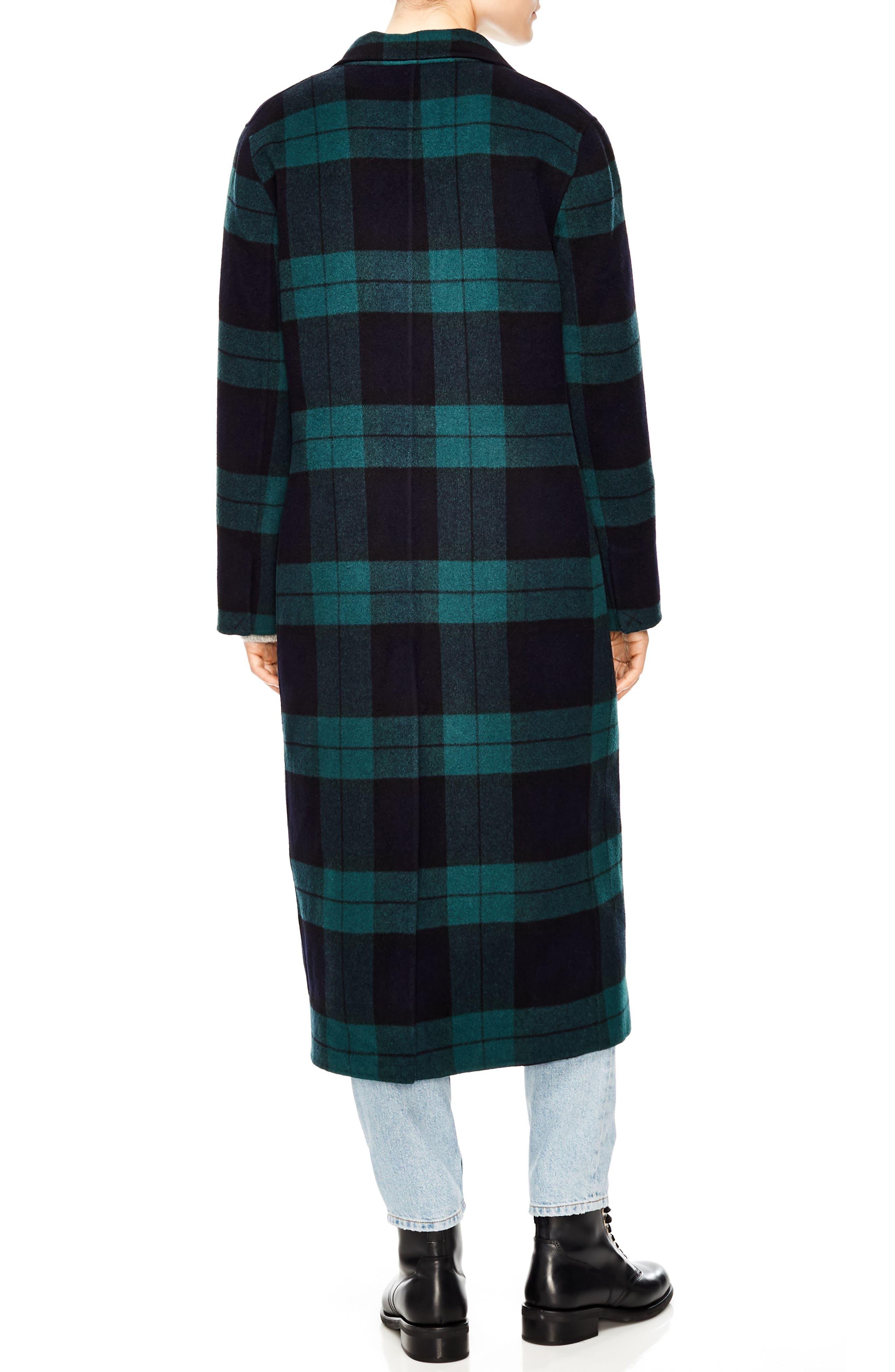 Pense Plaid Wool Blend Coat,                             Alternate thumbnail 2, color,                             GREEN