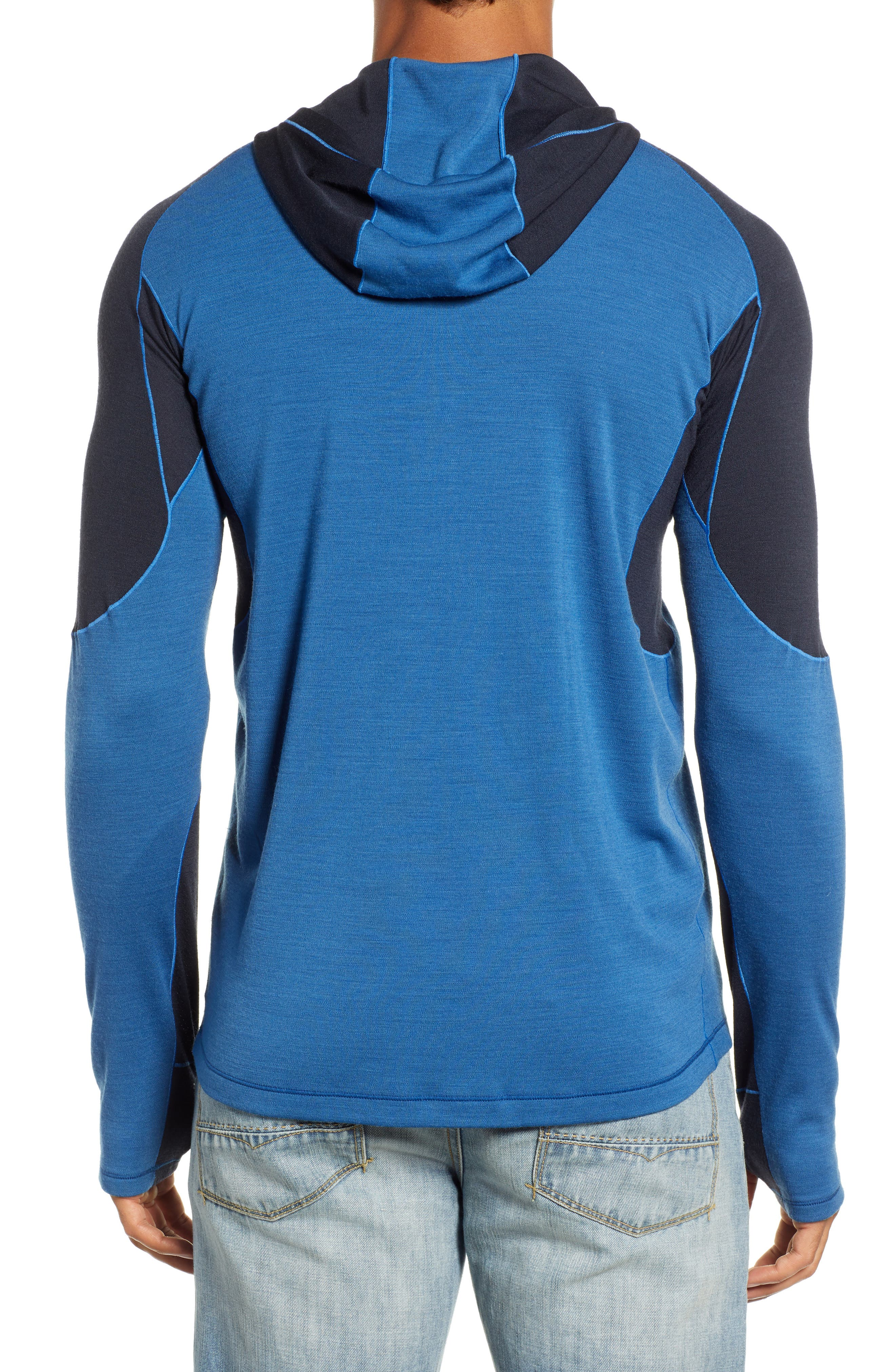 PhD<sup>®</sup> Light Merino Wool Blend Hooded Pullover,                             Alternate thumbnail 2, color,                             BRIGHT COBALT HEATHER