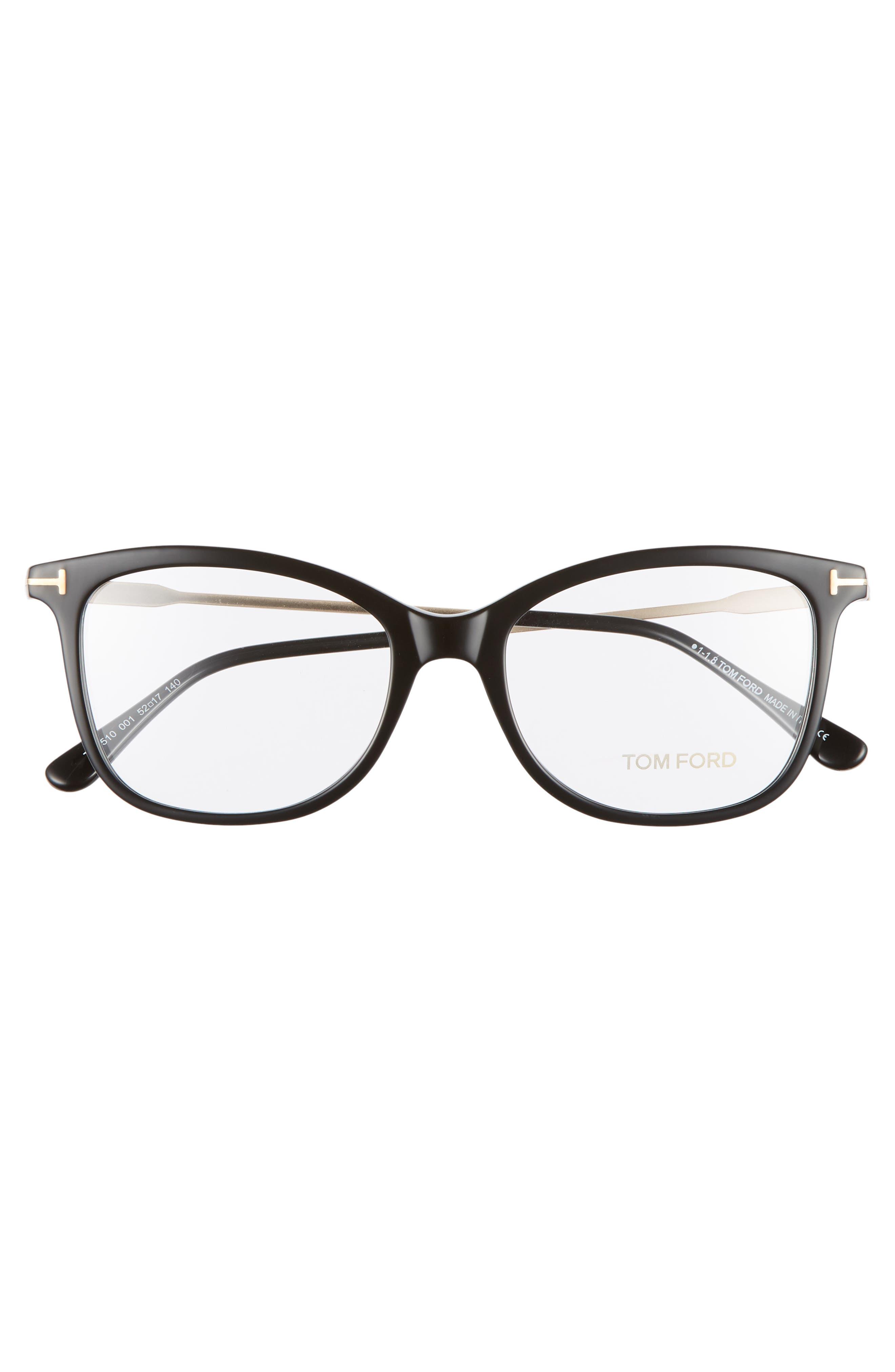 52mm Round Optical Glasses,                             Alternate thumbnail 3, color,                             SHINY BLACK ACETATE