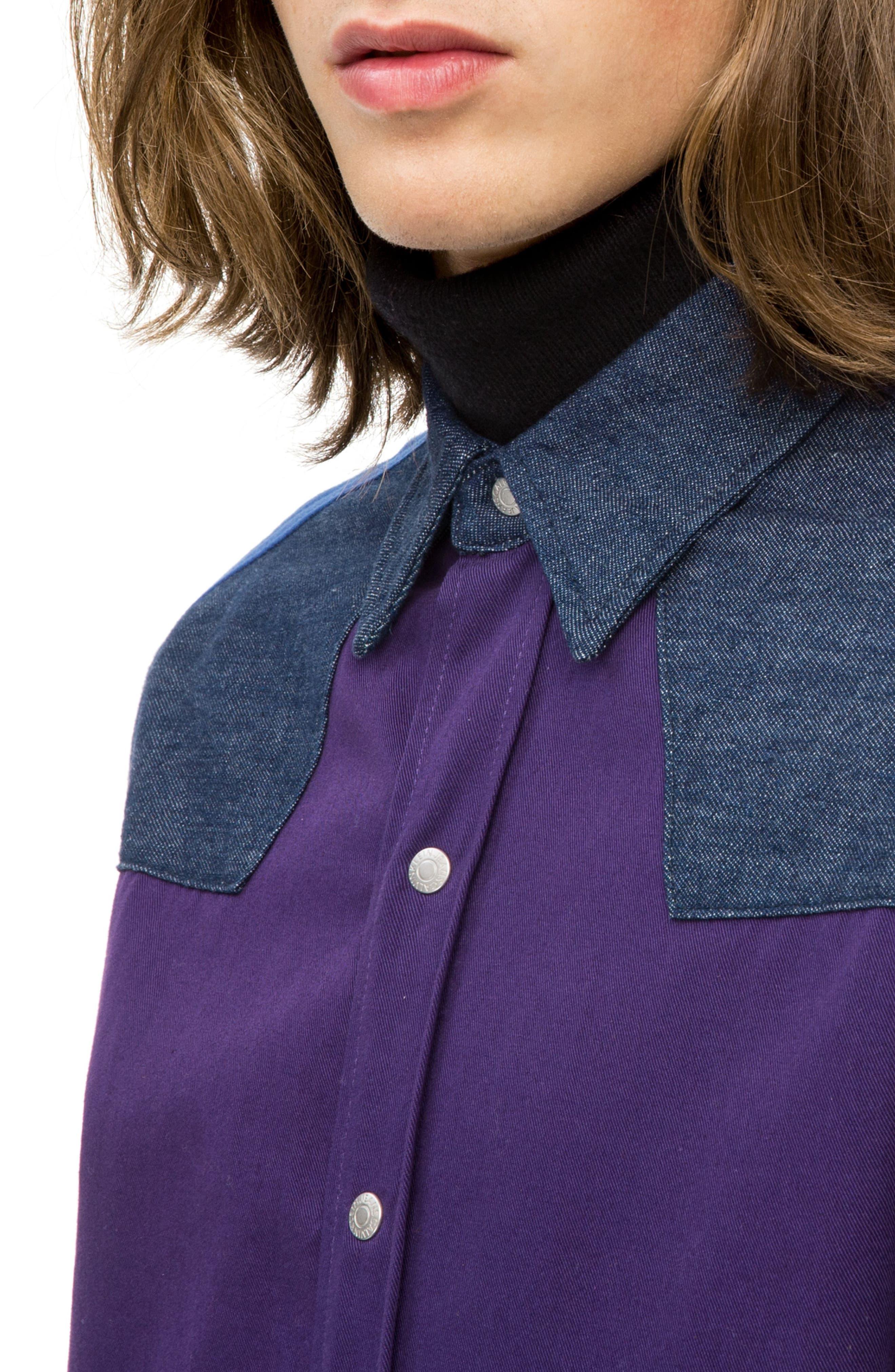 Calvin Klein Colorblock Western Shirt,                             Alternate thumbnail 2, color,                             OLIVIA RINSE