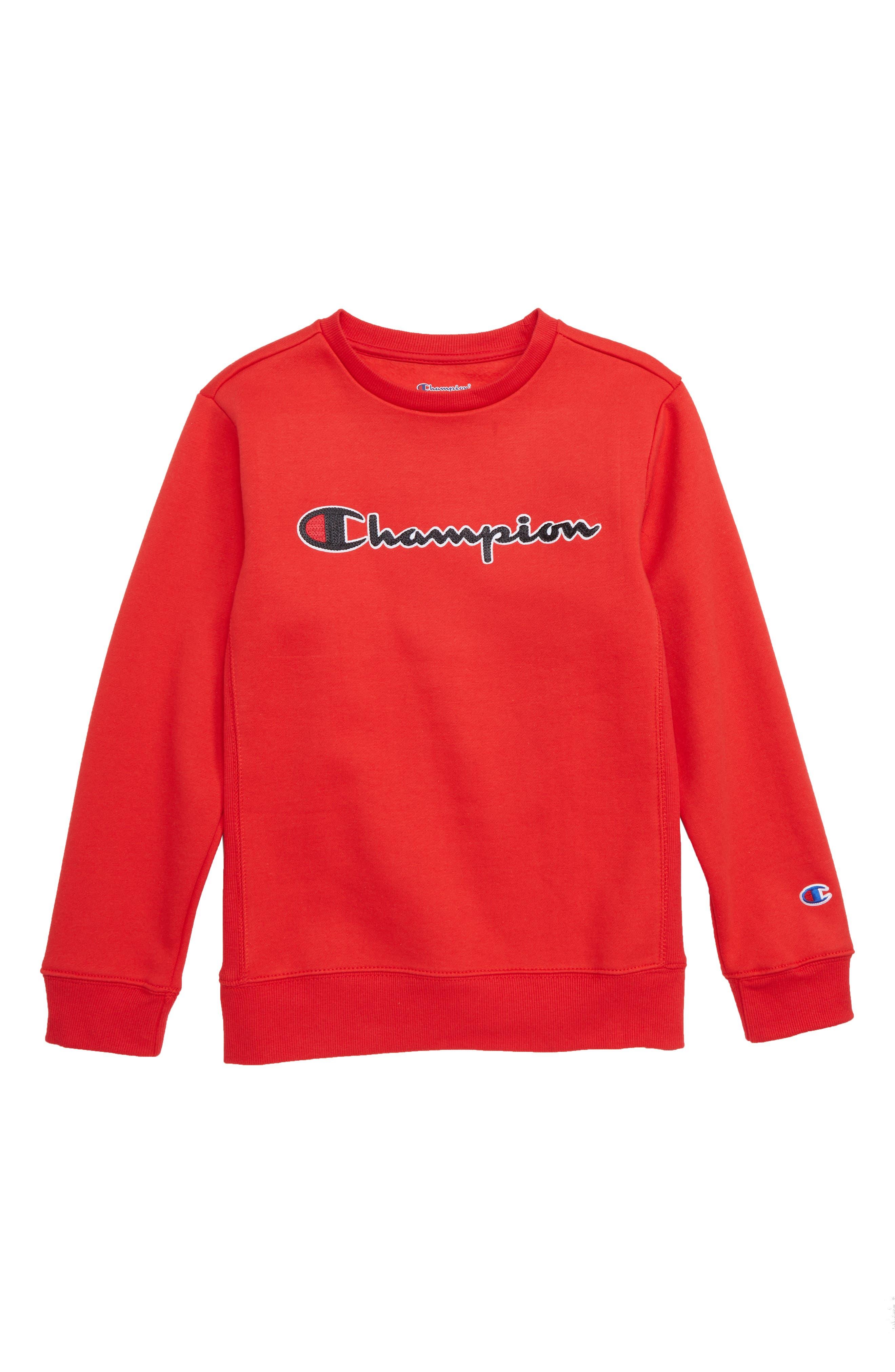 Logo Crewneck Sweatshirt,                             Main thumbnail 1, color,                             SCARLET