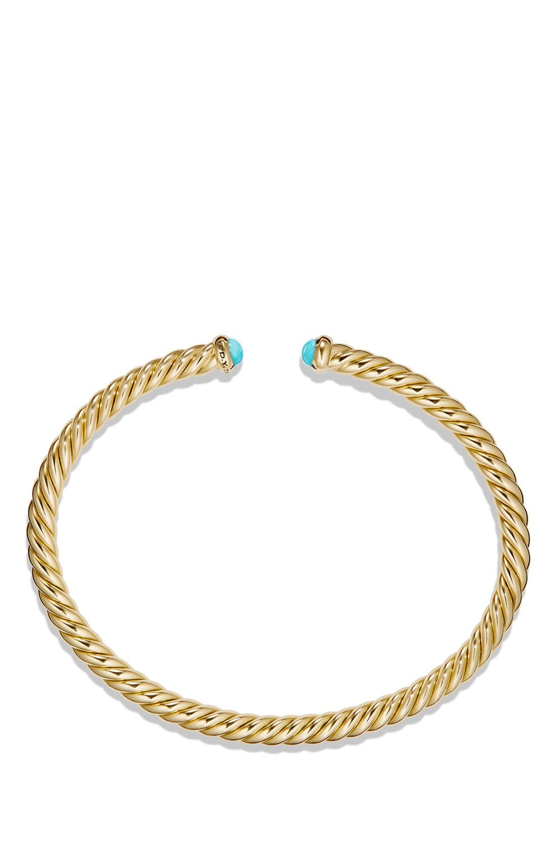 Cable Spira Bracelet with Semiprecious Stones in 18K Gold,                             Alternate thumbnail 2, color,                             TURQUOISE