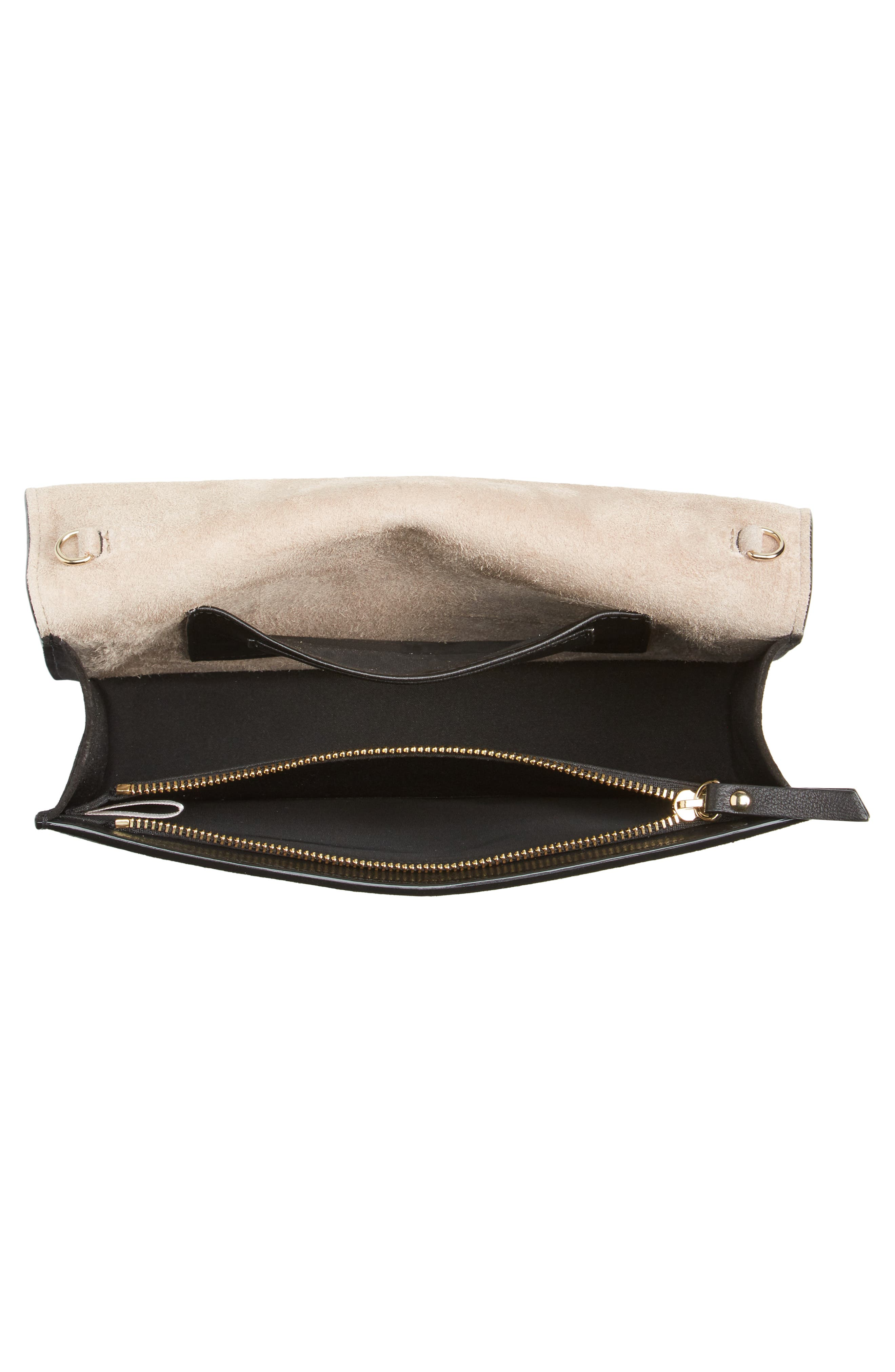 Florence Patent Leather & Suede Clutch,                             Alternate thumbnail 4, color,                             BLACK