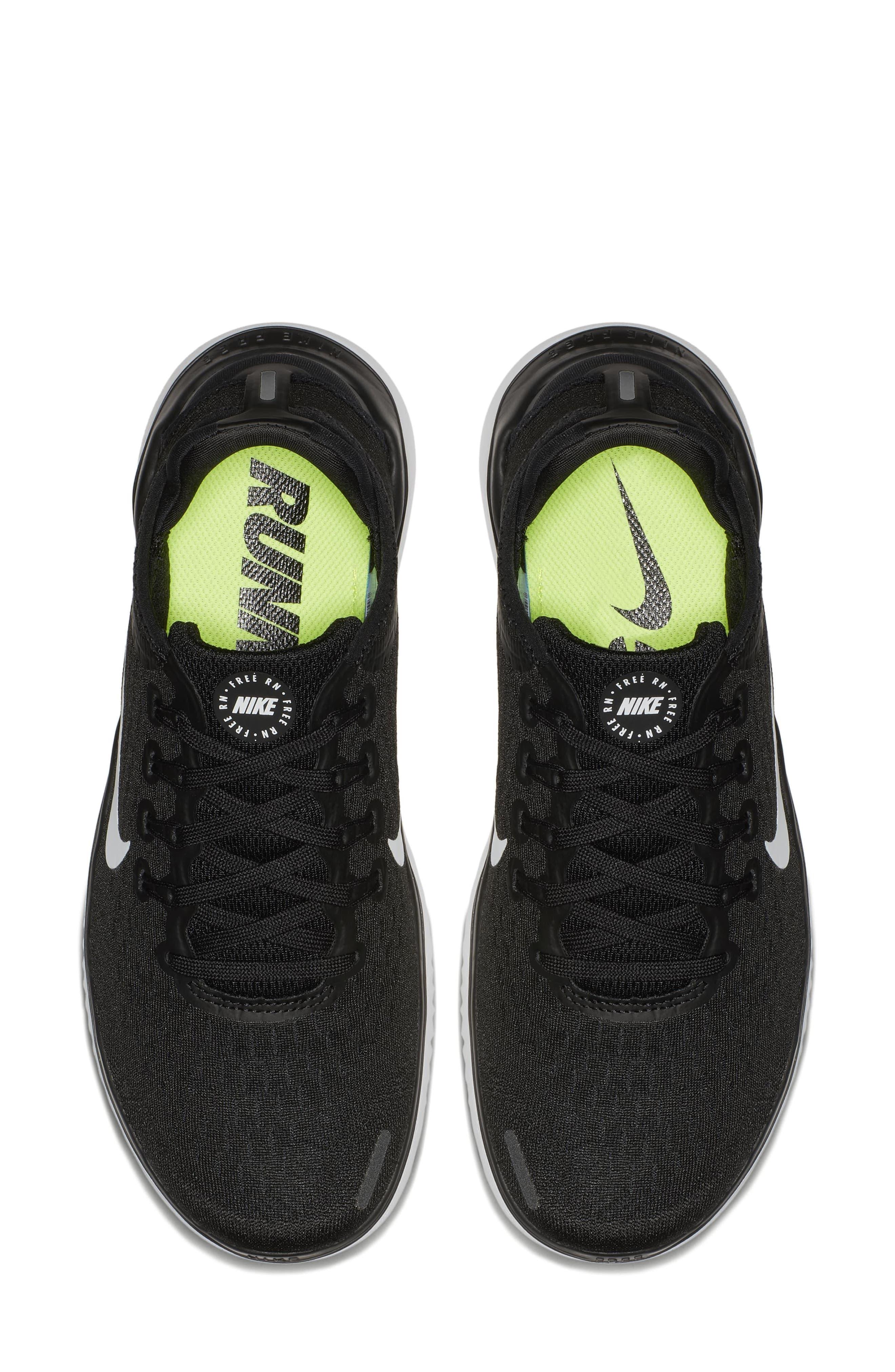 NIKE,                             Free RN 2018 Running Shoe,                             Alternate thumbnail 4, color,                             BLACK/ WHITE