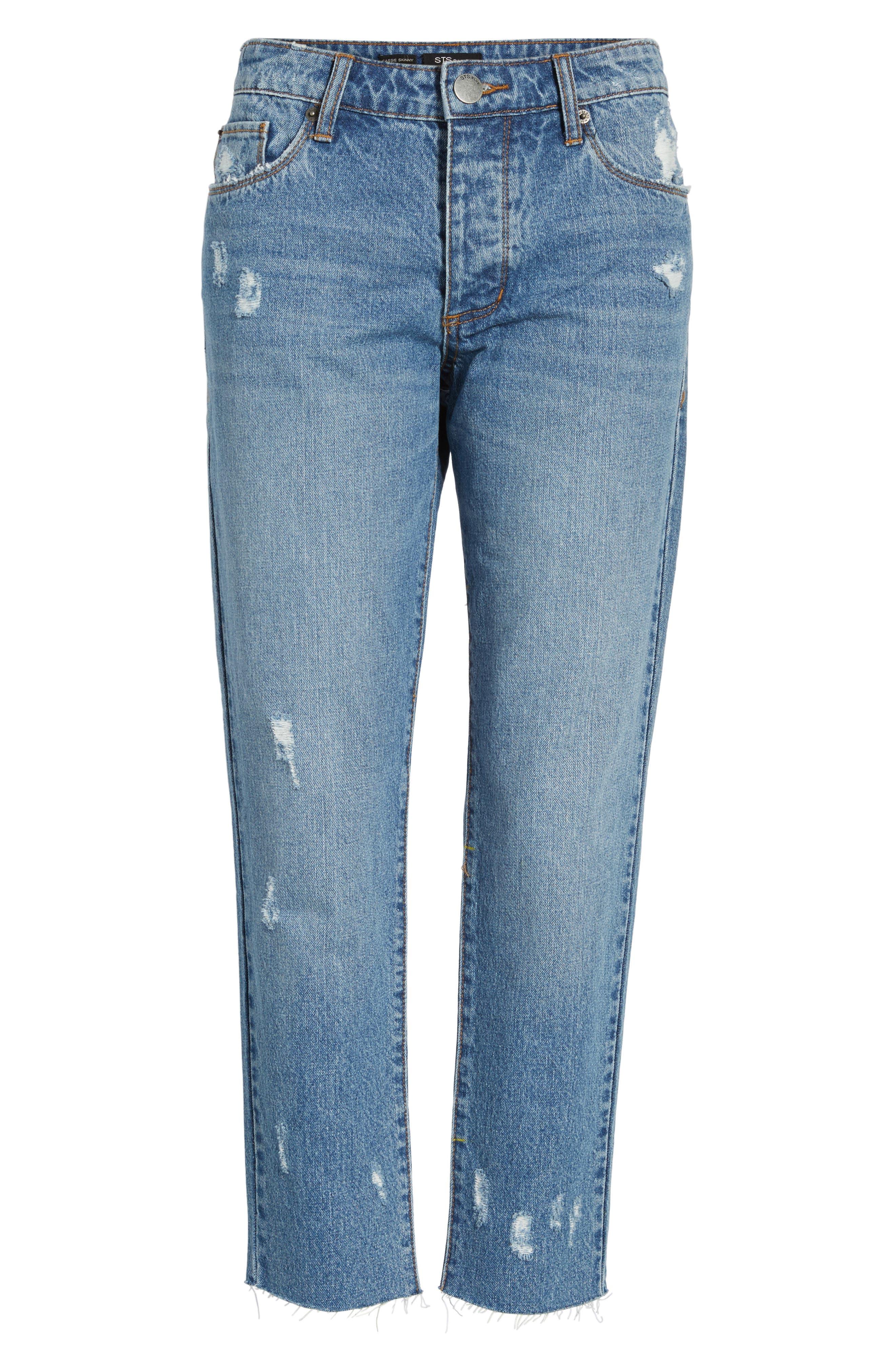 Taylor Ripped Crop Boyfriend Jeans,                             Alternate thumbnail 6, color,                             400