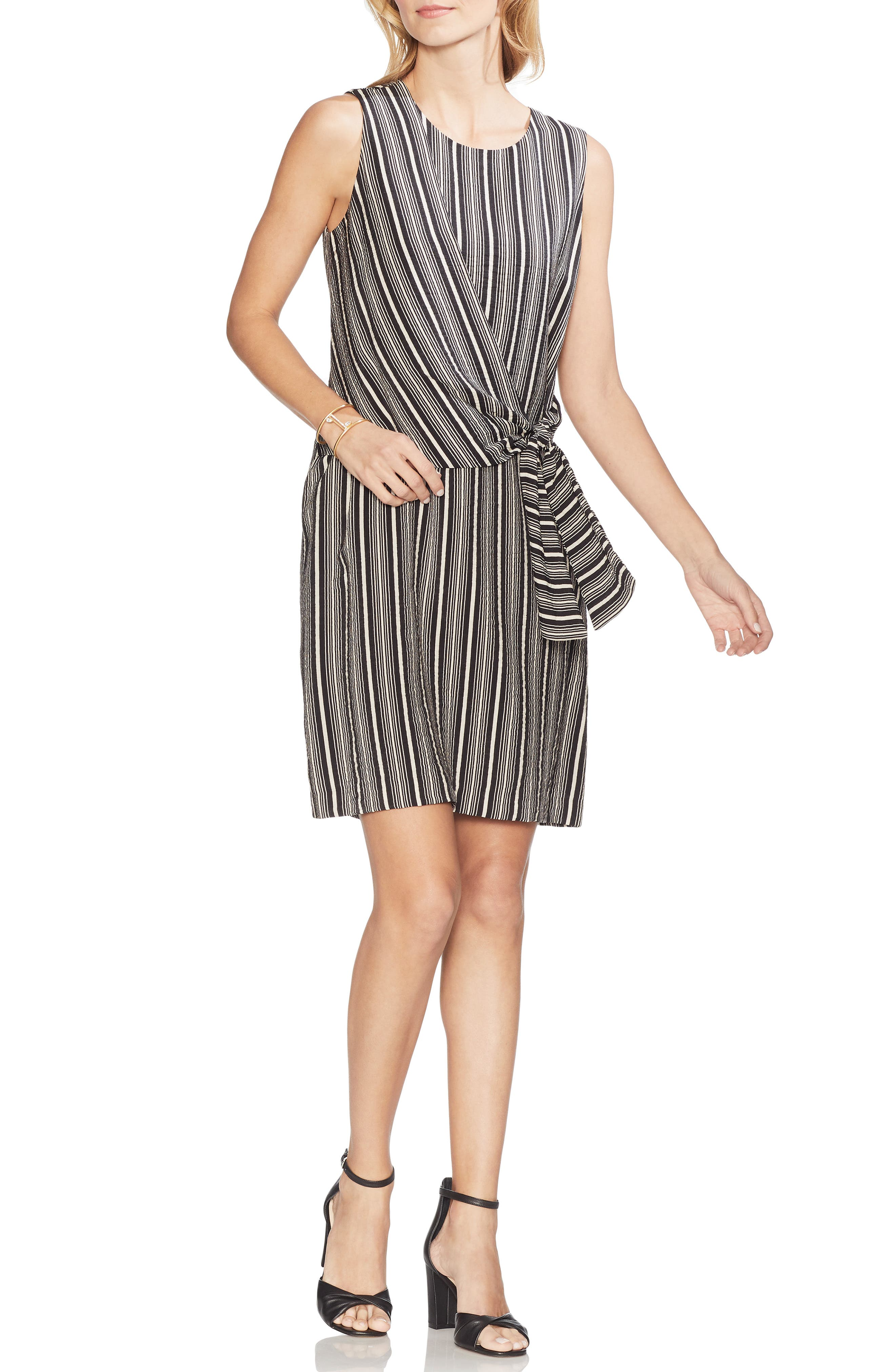 Vince Camuto Desert Stripe Tie Front Asymmetrical Shift Dress, Black