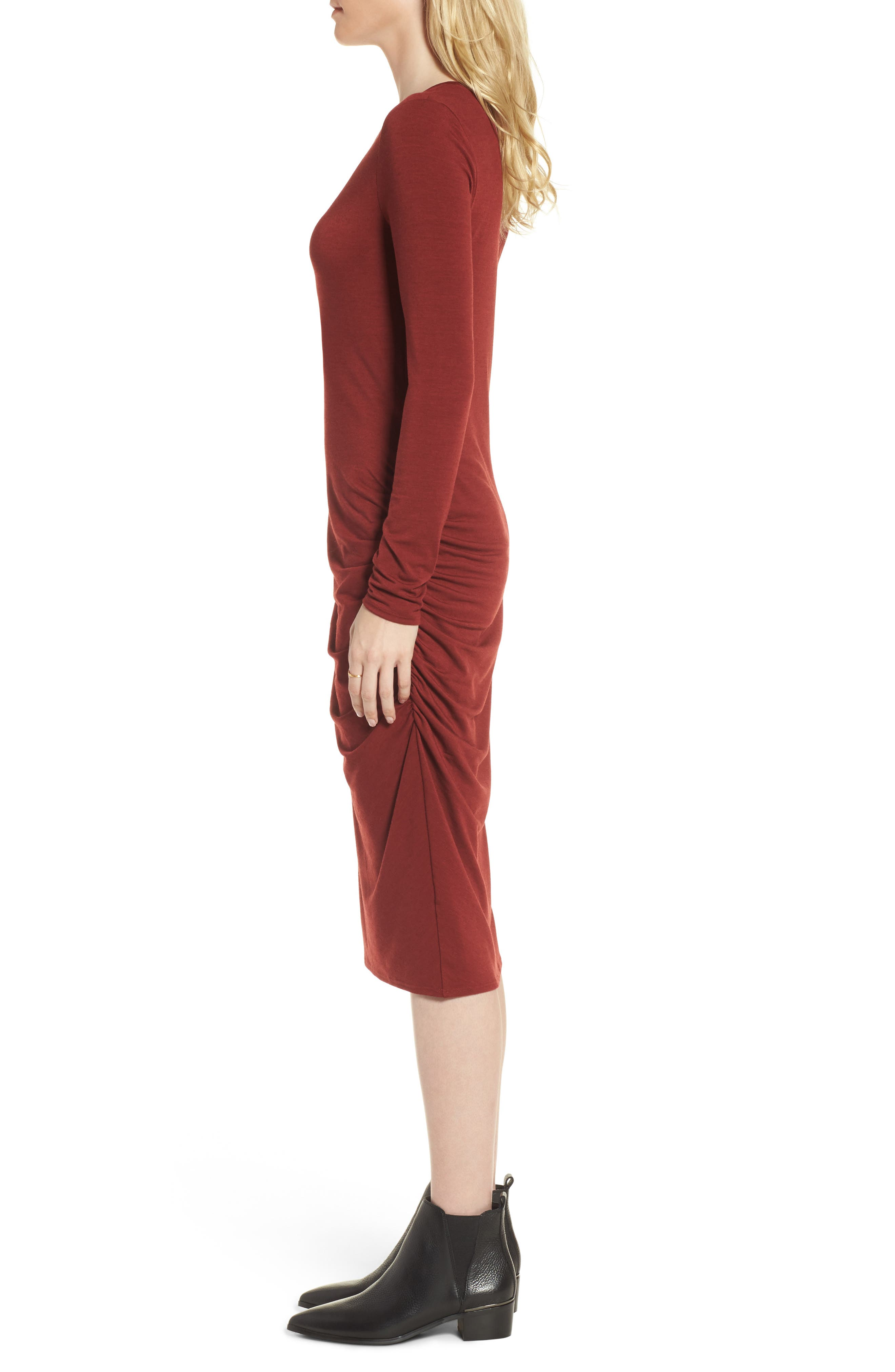 Side Ruched Knit Sheath Dress,                             Alternate thumbnail 6, color,