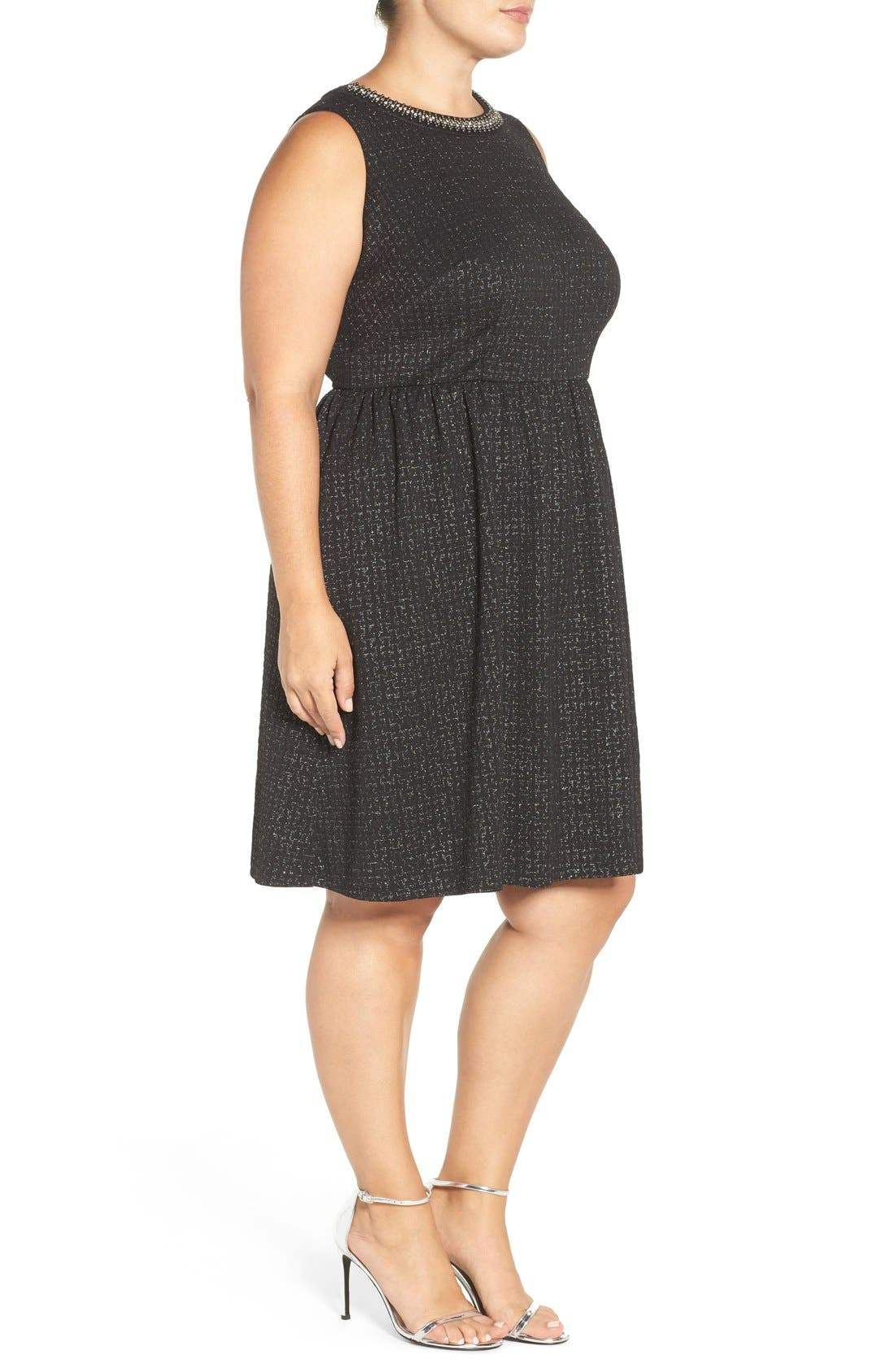 Embellished Stretch Fit & Flare Dress,                             Alternate thumbnail 3, color,                             004
