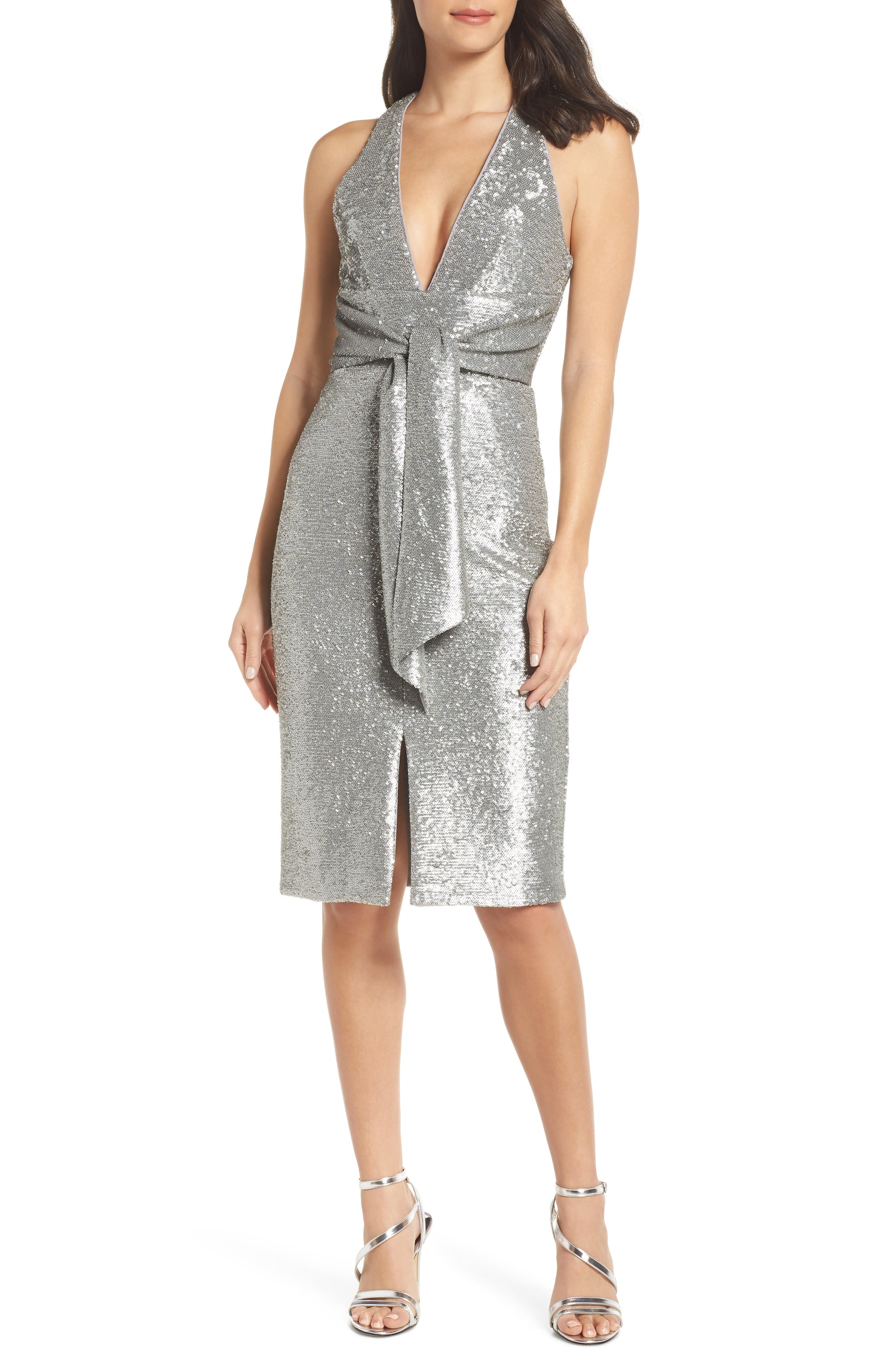 HARLYN Plunge Neck Sequin Dress in Matte Silver