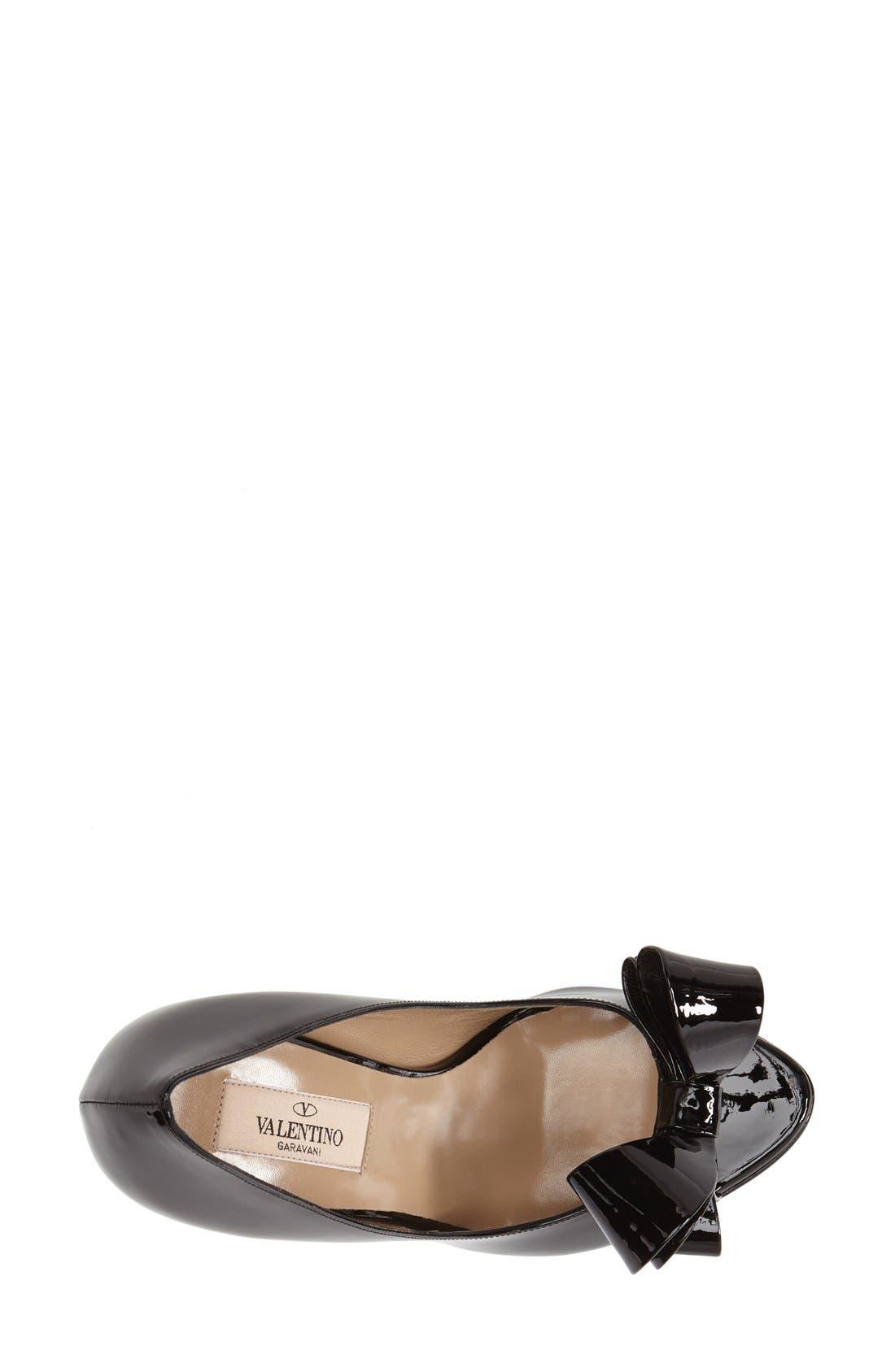 VALENTINO GARAVANI,                             Couture Bow Platform Pump,                             Alternate thumbnail 6, color,                             001