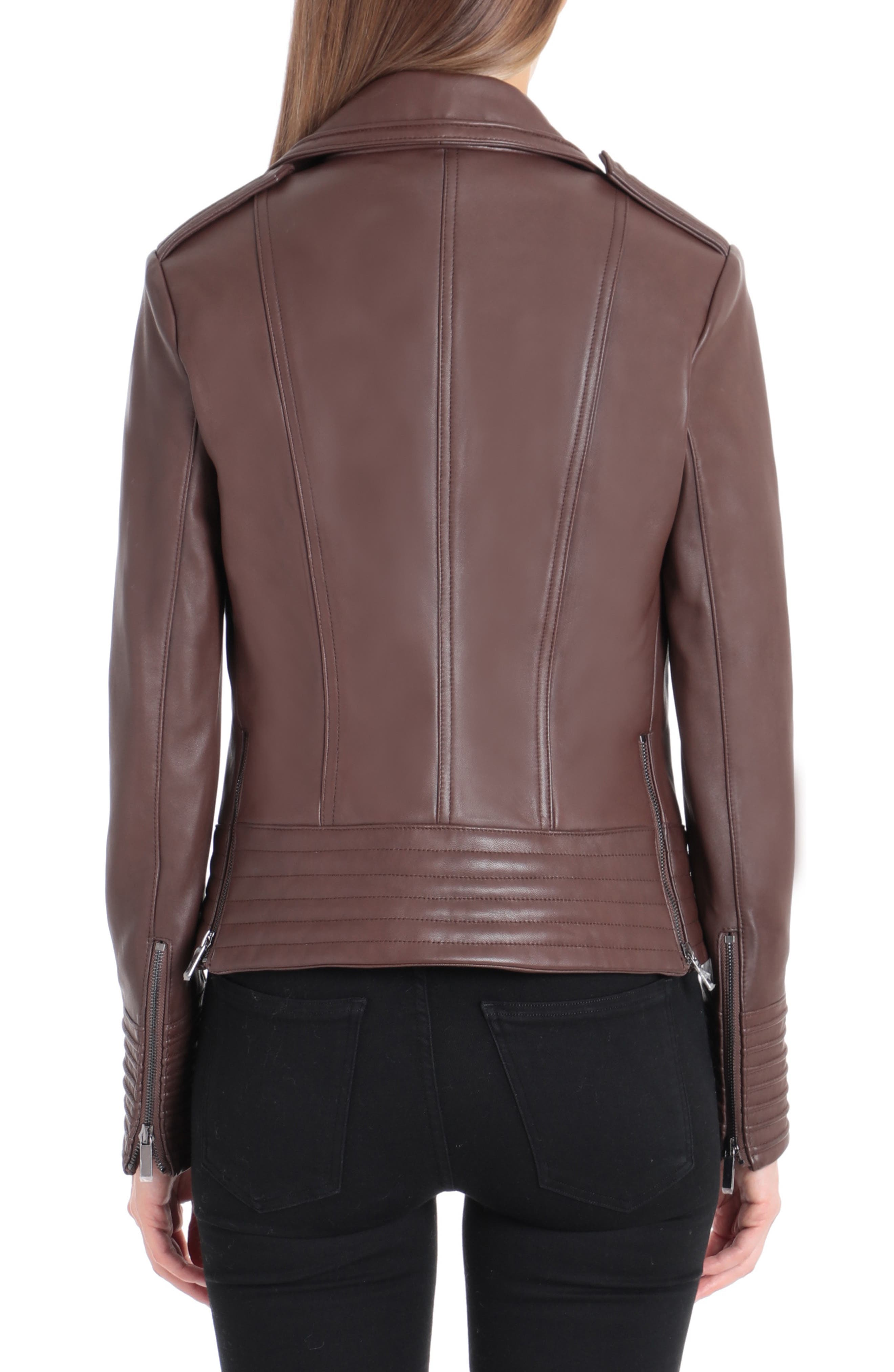 Gia Leather Biker Jacket,                             Alternate thumbnail 2, color,                             CHOCOLATE