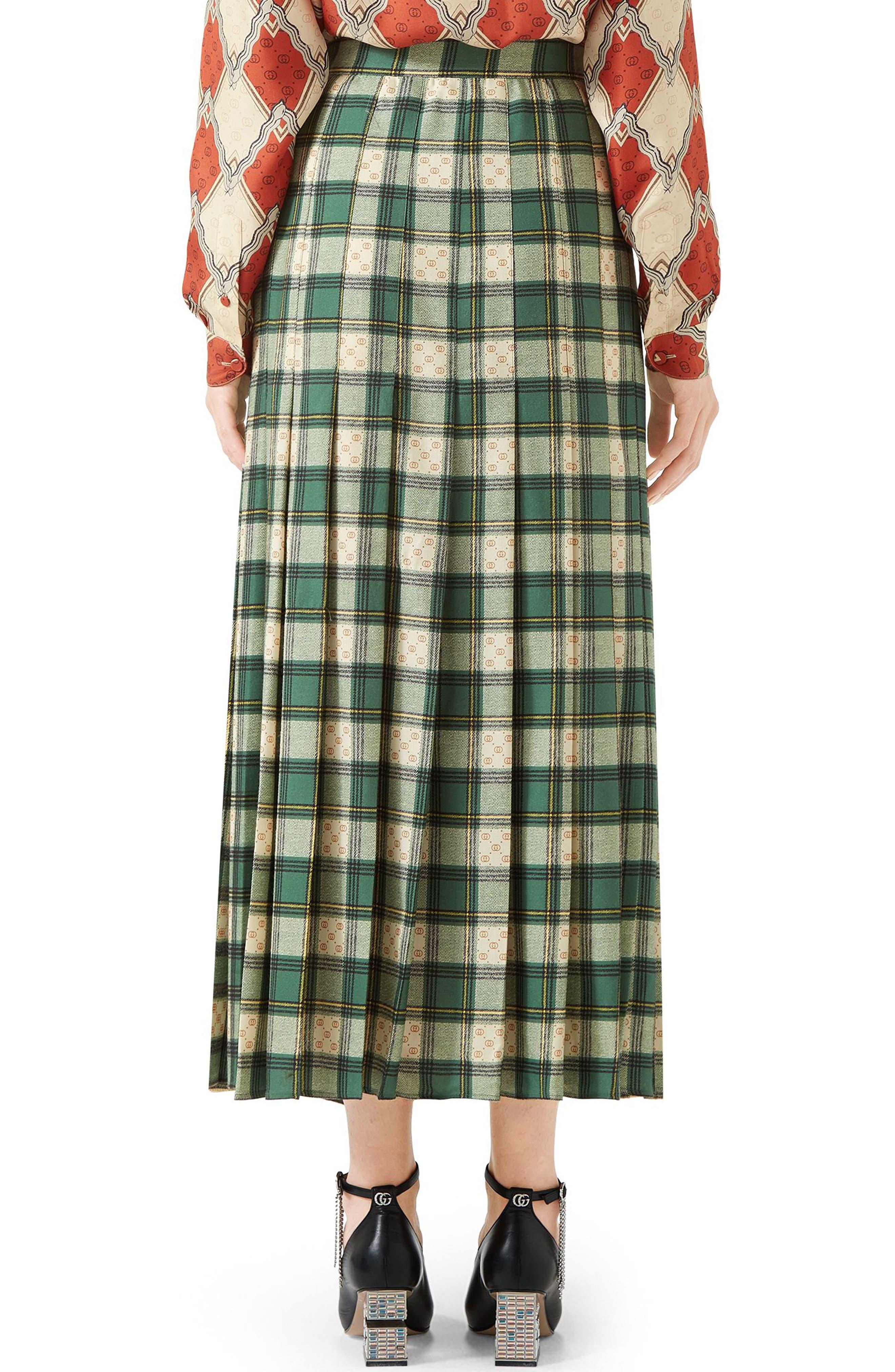 Tartan Check Wool Twill Maxi Skirt,                             Alternate thumbnail 2, color,                             3741 GREEN/ ROSE BEIGE PRI