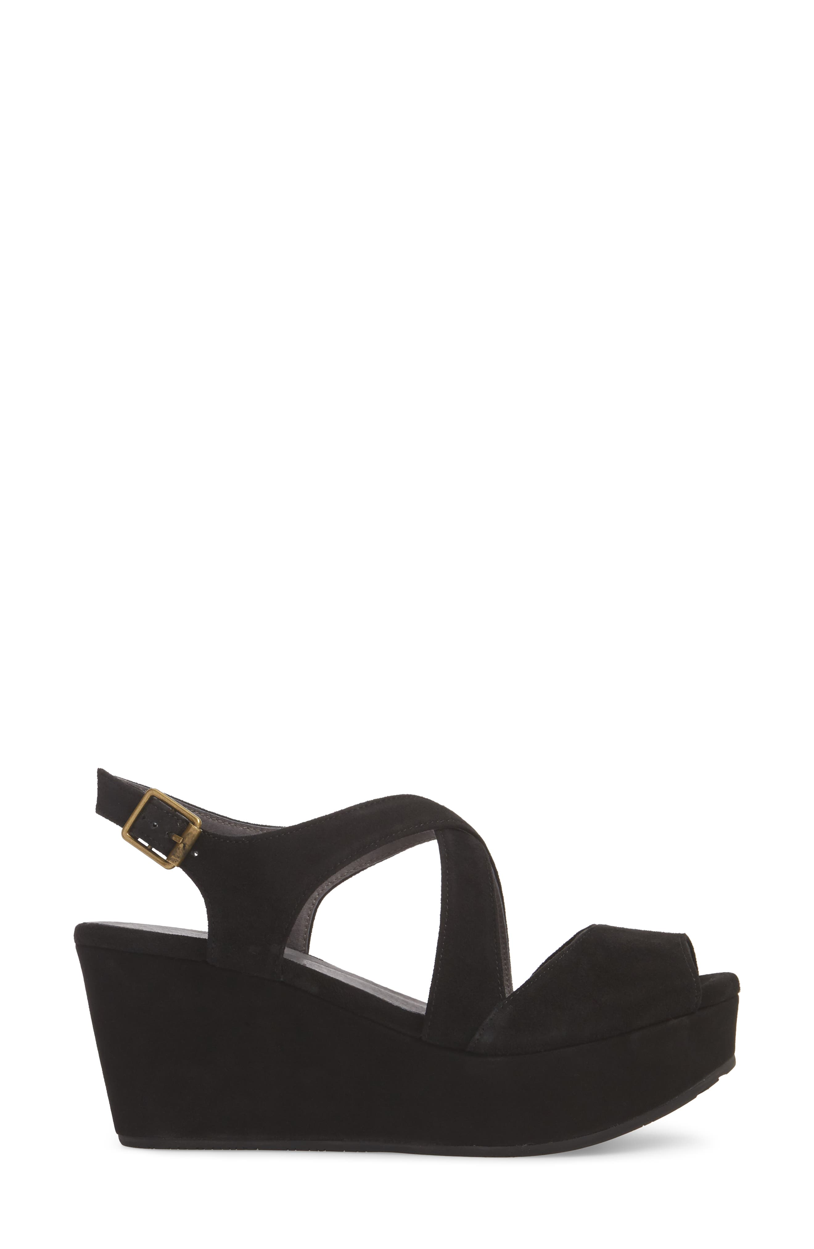 Winnie Wedge Sandal,                             Alternate thumbnail 3, color,                             BLACK SUEDE