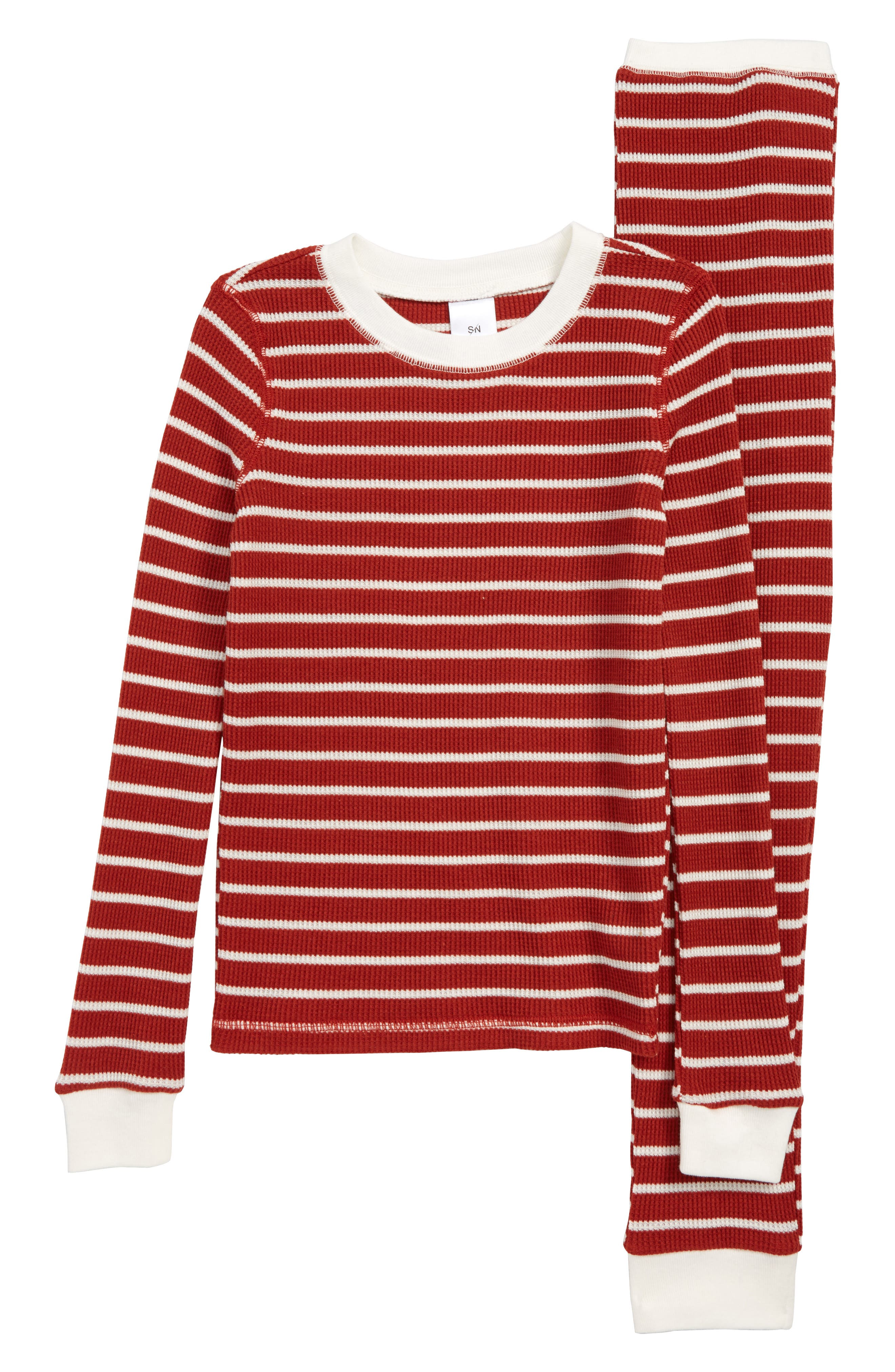 Thermal Fitted Two-Piece Pajamas,                         Main,                         color, RED AND WHITE STRIPE