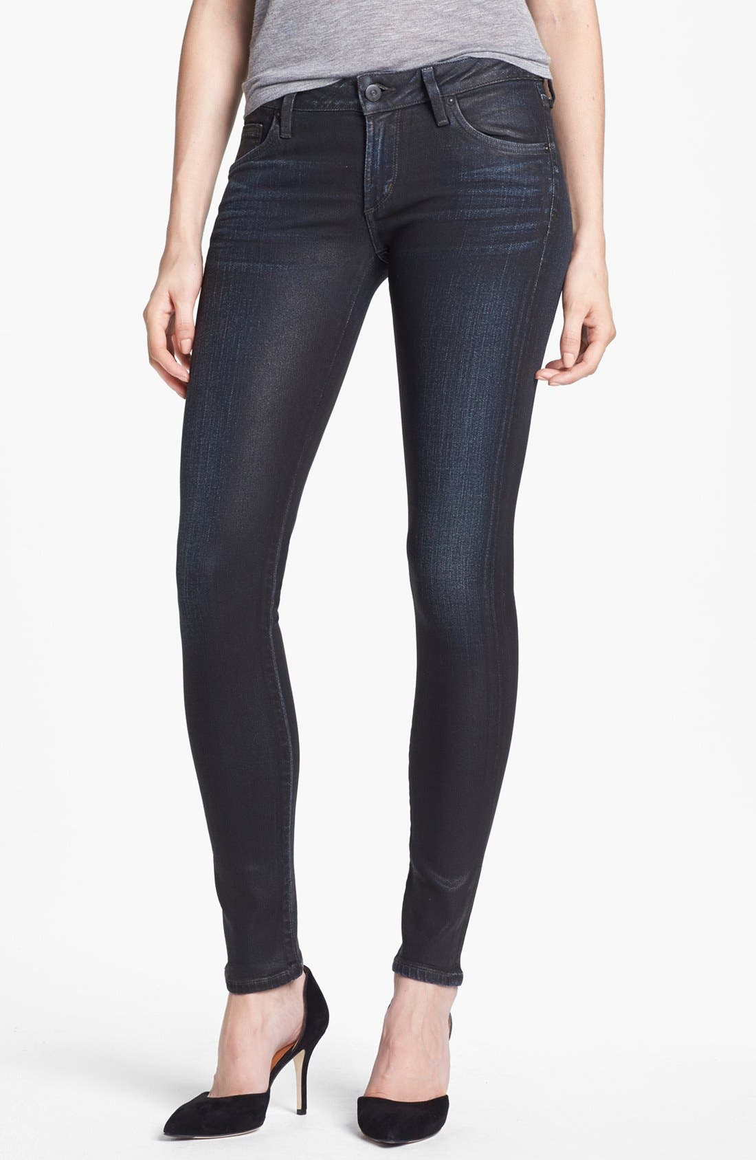 'Racer' Coated Skinny Jeans,                             Main thumbnail 1, color,                             483