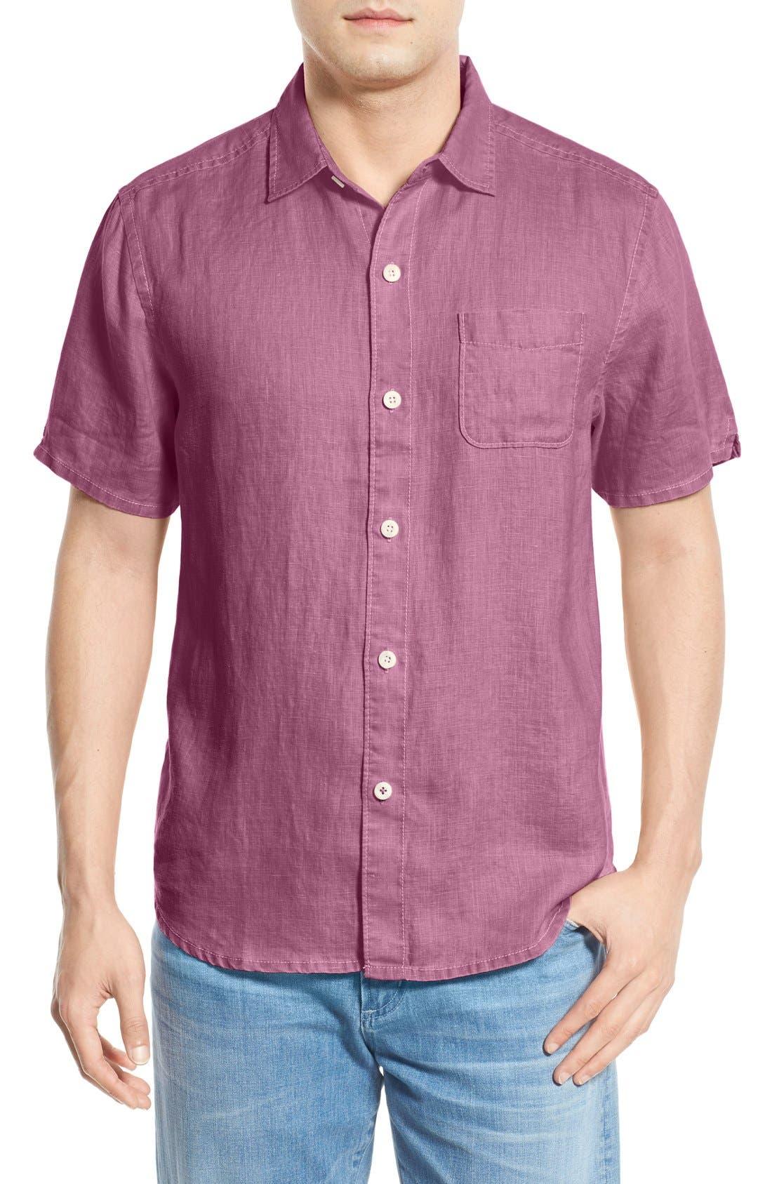 Seaglass Breezer Short Sleeve Linen Sport Shirt,                             Main thumbnail 17, color,